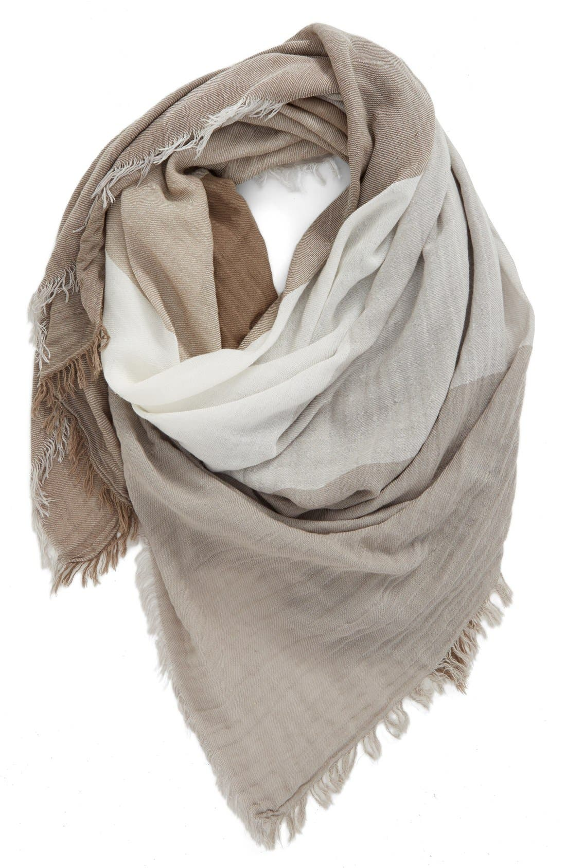 Check Woven Square Scarf,                             Main thumbnail 1, color,                             Ivory Multi