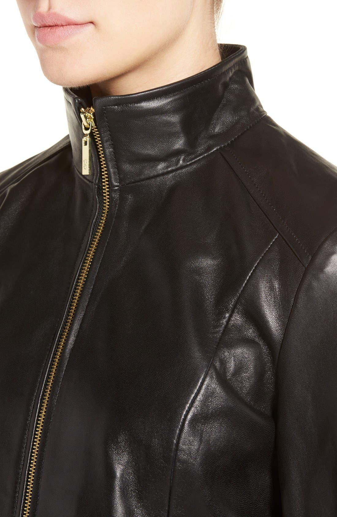 Wing Collar Leather Jacket,                             Alternate thumbnail 4, color,                             Black