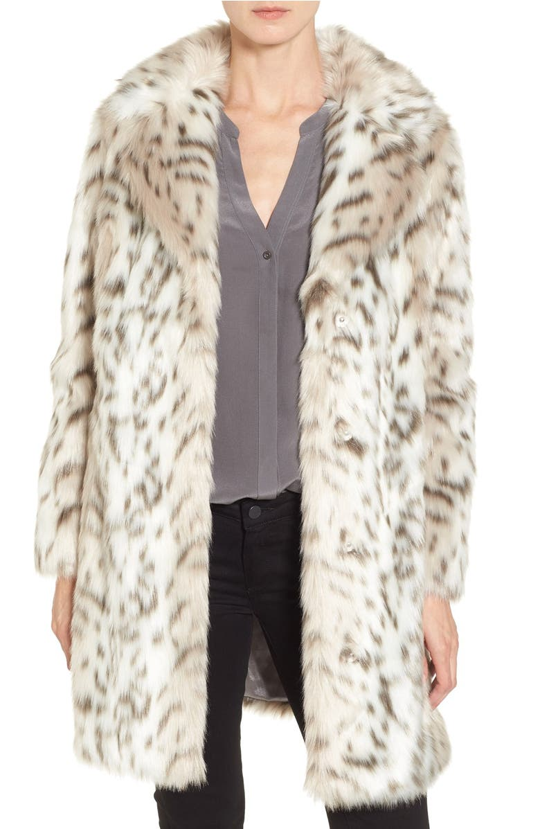 Runway96 Snow Leopard Faux Fur Shawl Collar Coat Calvin Klein Tommy Hilfiger For Love And Lemons
