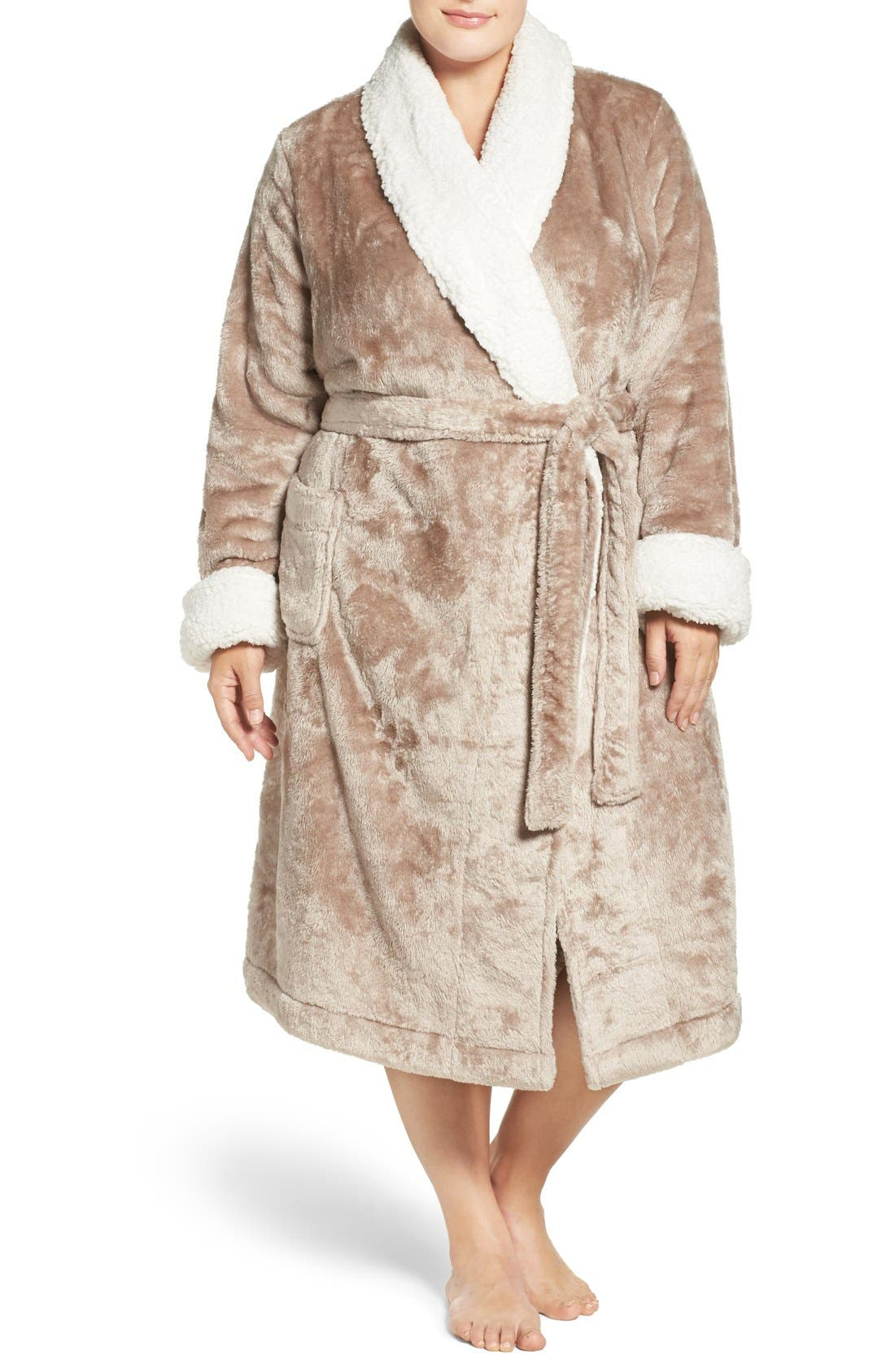 Frosted Plush Robe,                             Main thumbnail 1, color,                             Brown