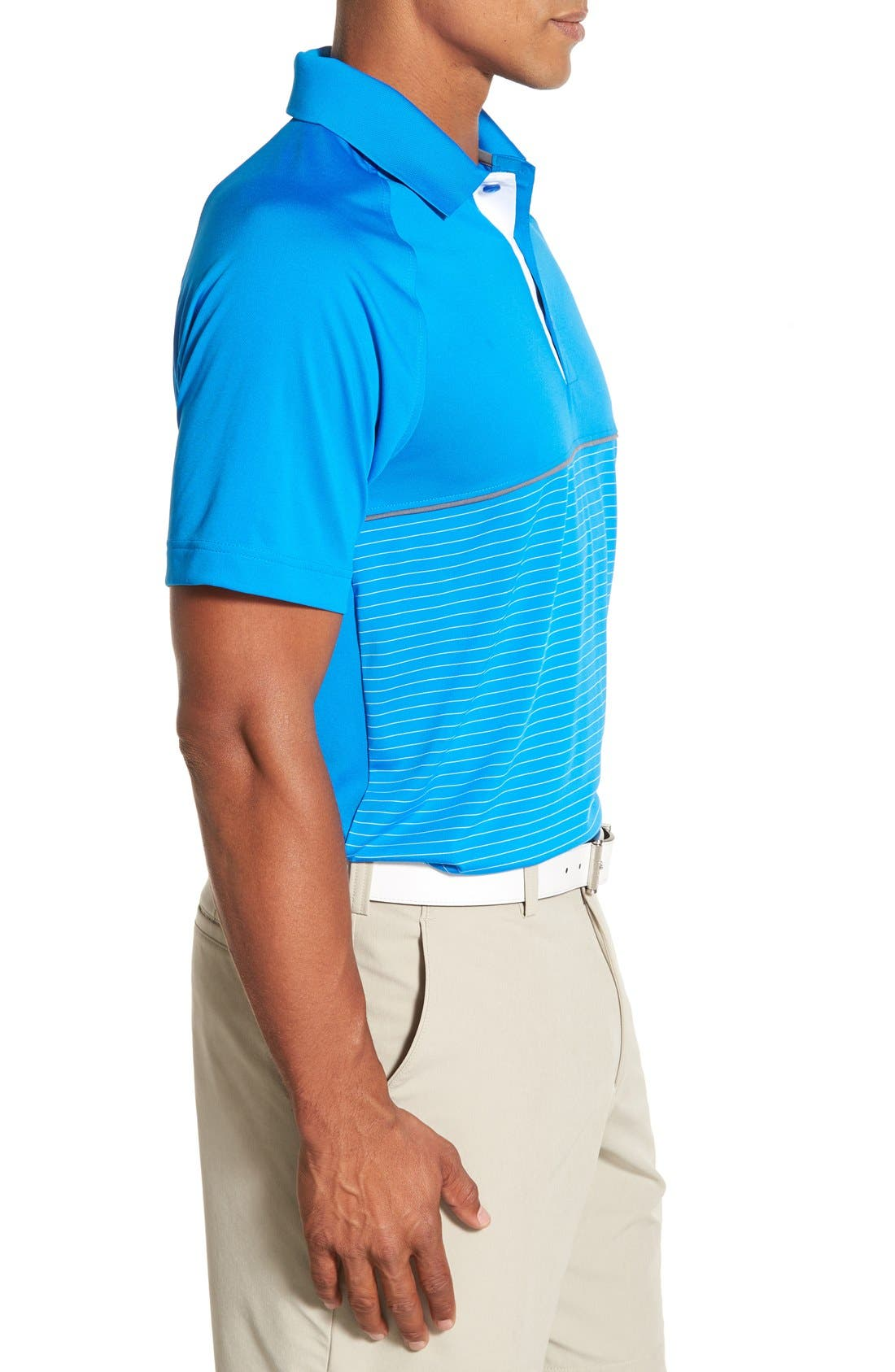 'Junction' Stripe DryTec Polo,                             Alternate thumbnail 3, color,                             Digital/ White