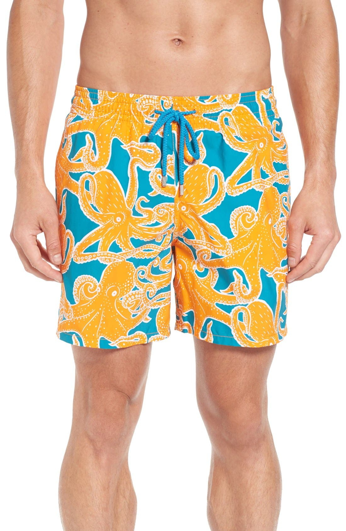 Octopus Print Swim Trunks,                         Main,                         color, Kumquat