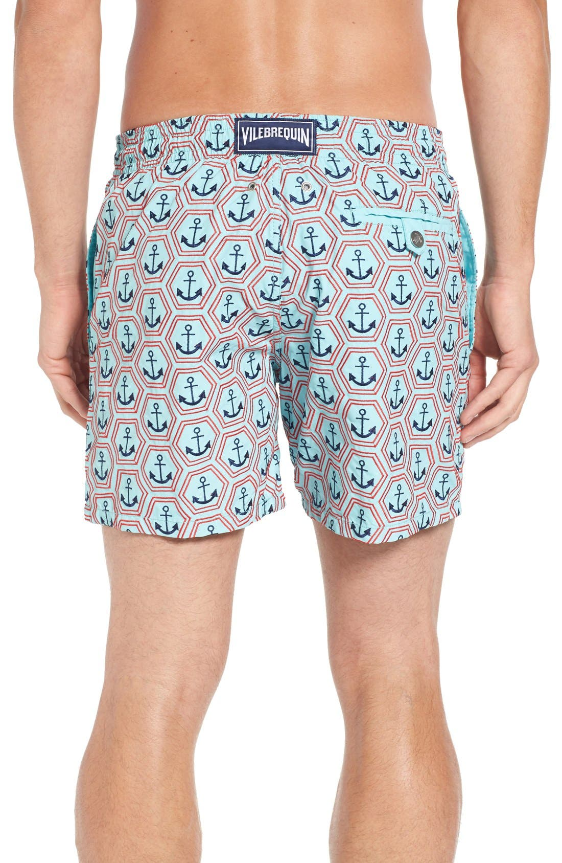 Vilbrequin Anchor Embroidered Swim Trunks,                             Alternate thumbnail 2, color,                             Lagoon