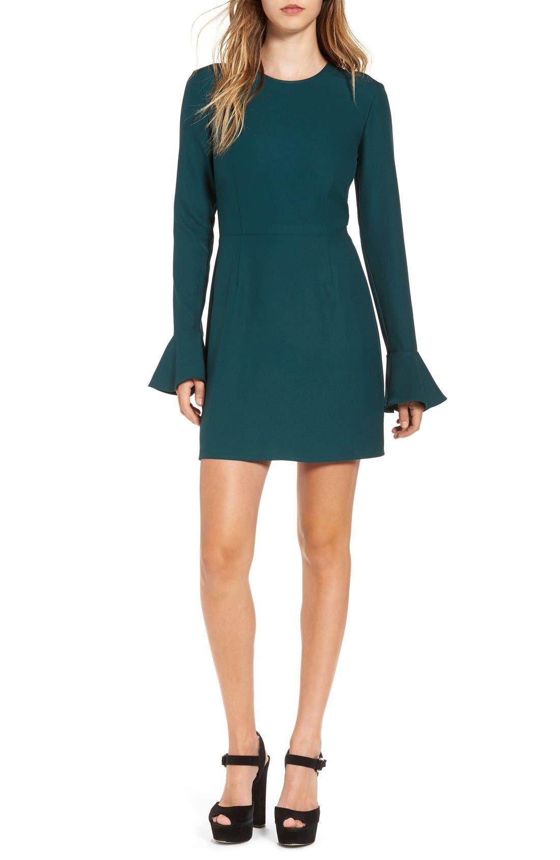 Bell Sleeve Sheath Dress,                         Main,                         color, Green Ponderosa