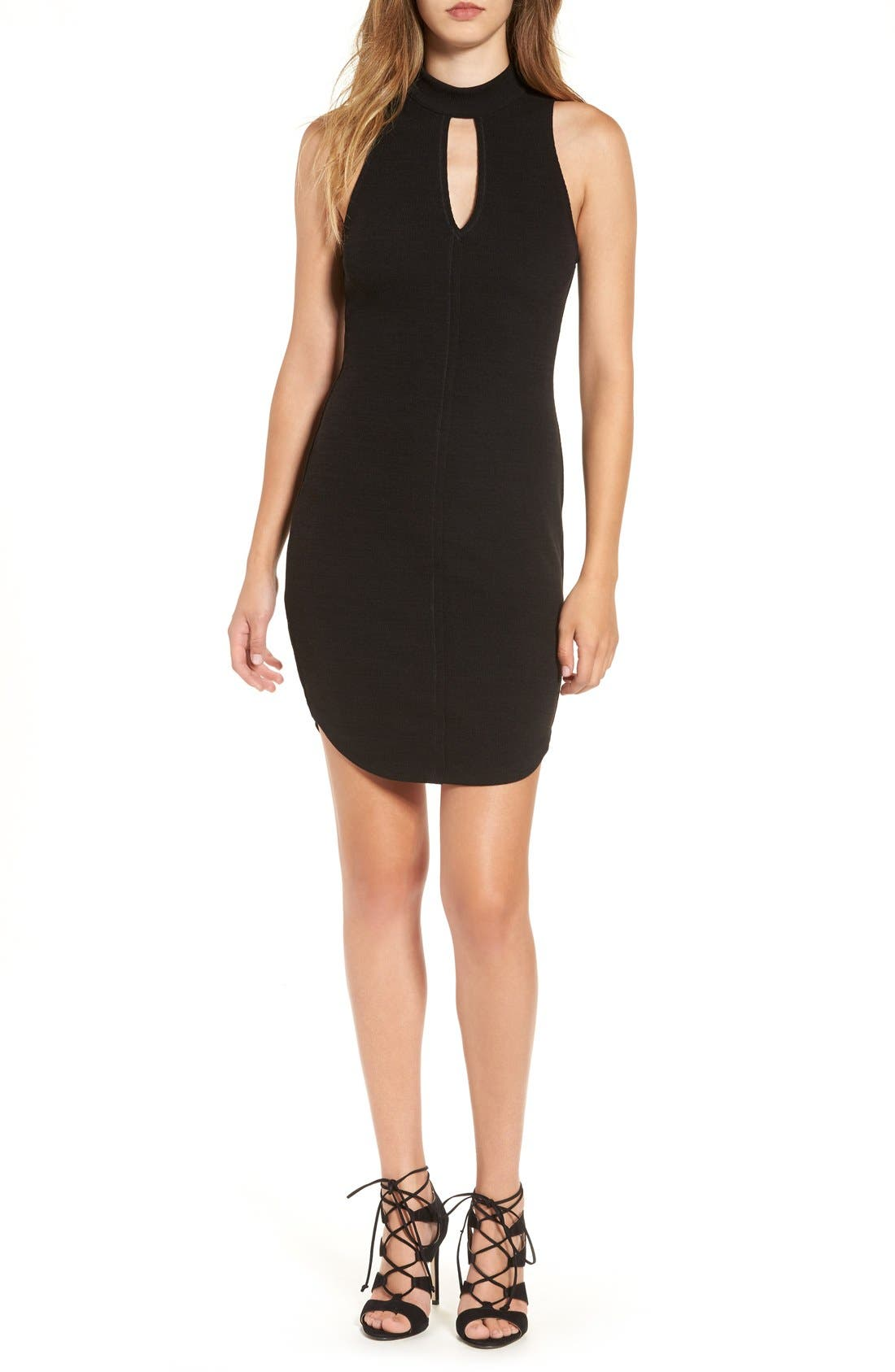 ASTR Cutout Knit Body-Con Dress,                         Main,                         color, Black