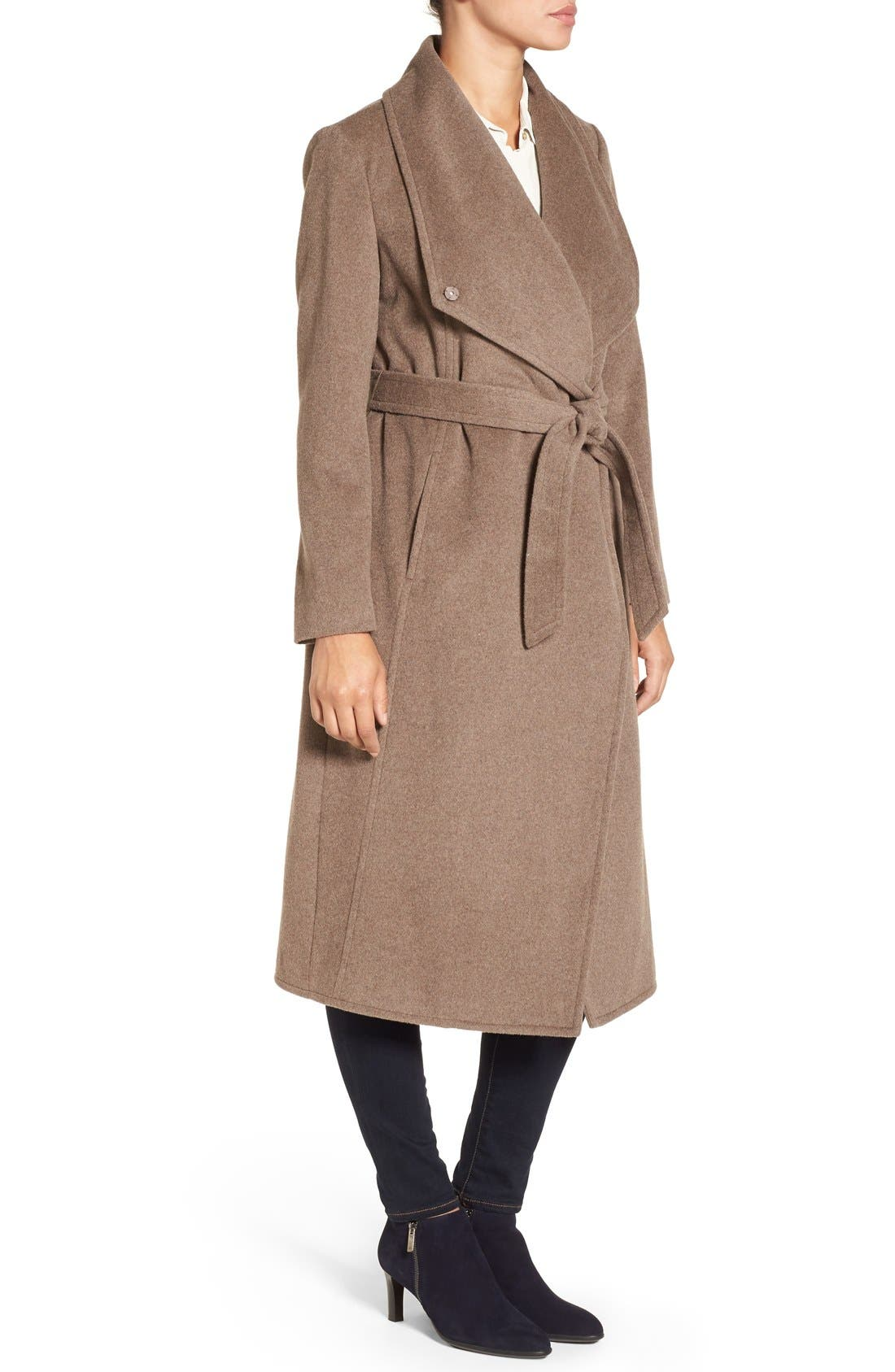 Drape Front Wrap Coat,                             Alternate thumbnail 3, color,                             Portobello