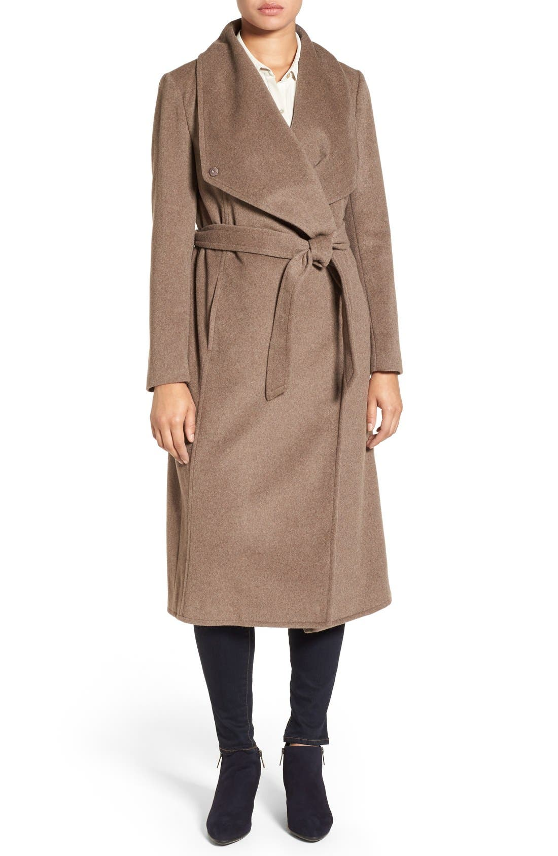 Drape Front Wrap Coat,                             Main thumbnail 1, color,                             Portobello