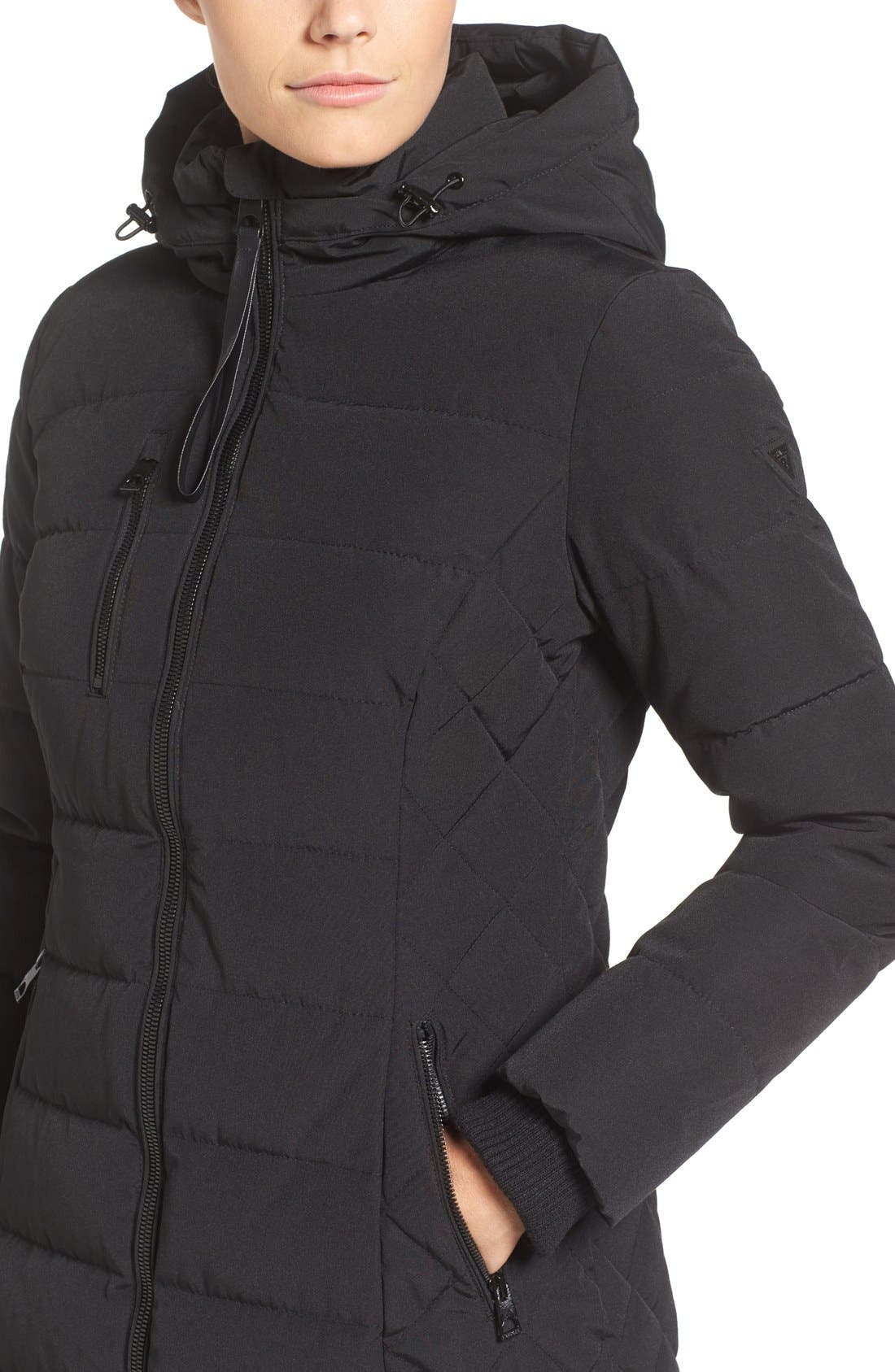 Quilted Hooded Puffer Coat,                             Alternate thumbnail 4, color,                             Black