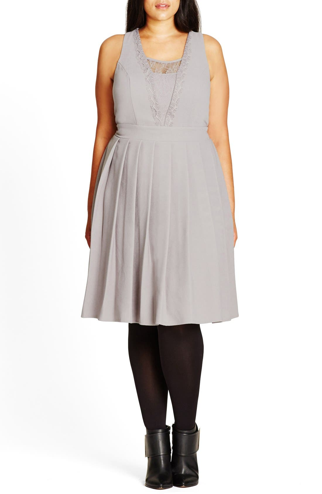 Alternate Image 1 Selected - City Chic 'Eyelash Trim' Lace Inset Pleat Fit & Flare Dress (Plus Size)