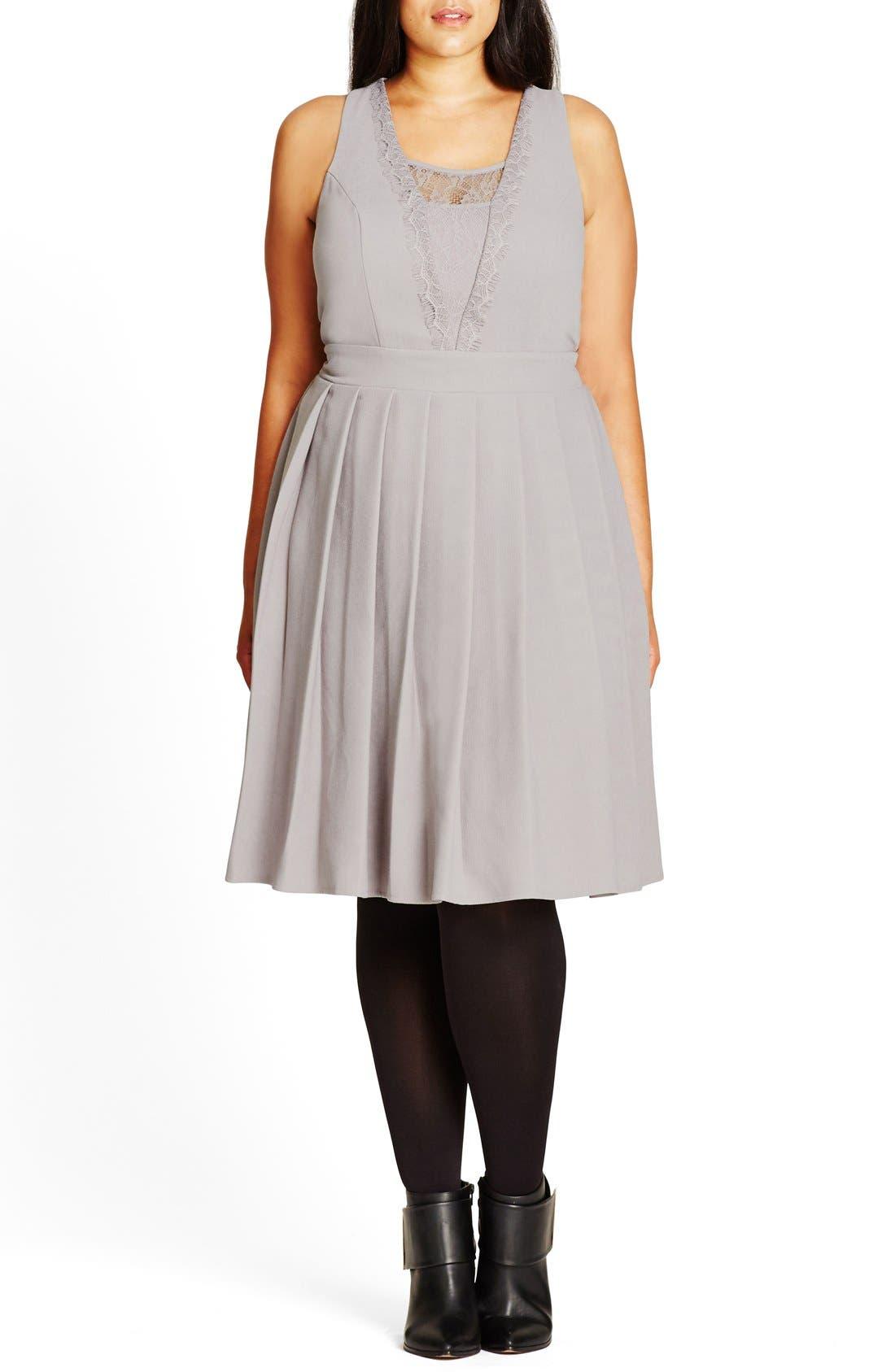 'Eyelash Trim' Lace Inset Pleat Fit & Flare Dress,                         Main,                         color, Dove