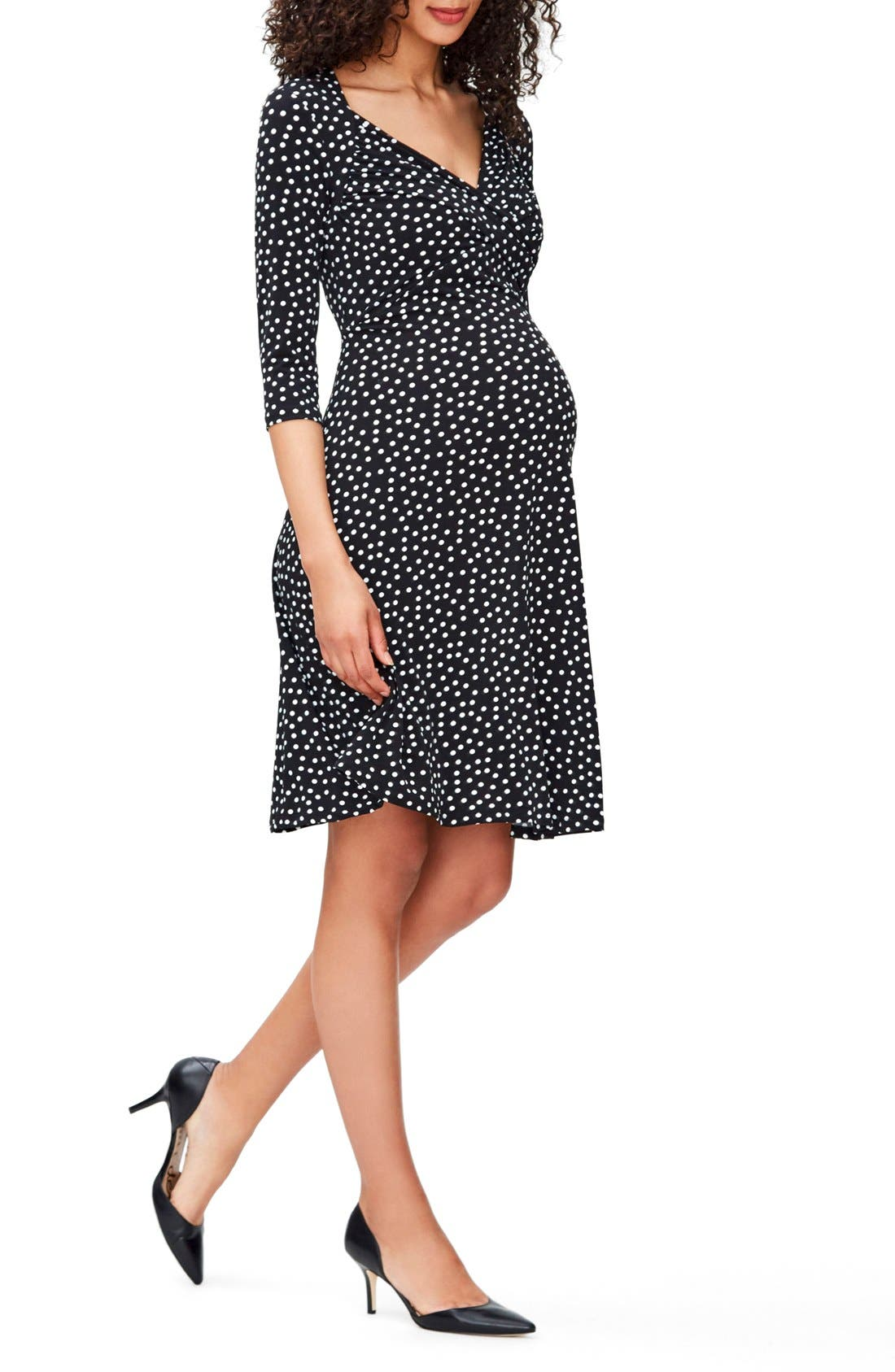 'Sweetheart' Maternity Dress,                         Main,                         color, Black/ Ivory Confetti Dot