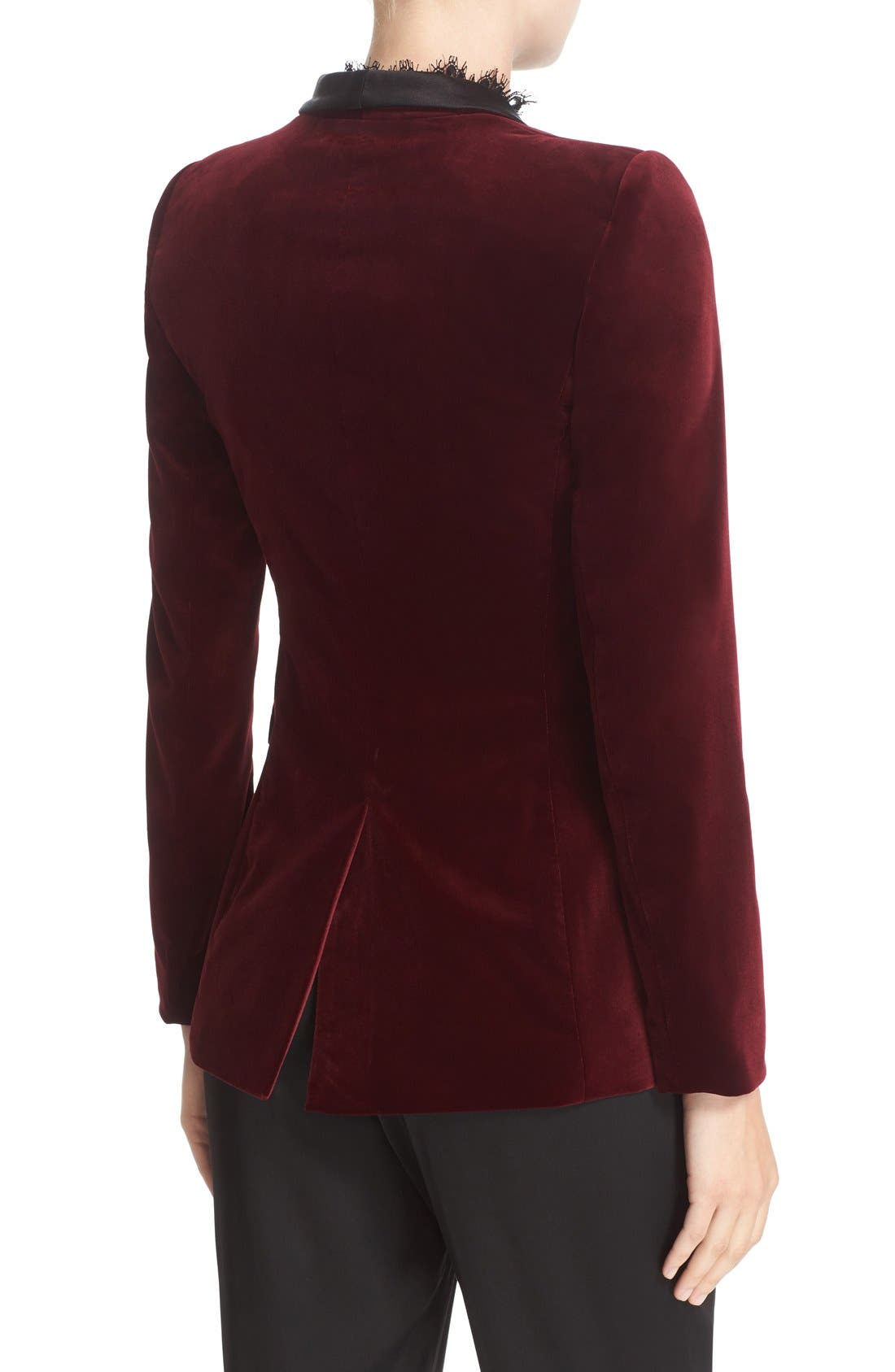 'Macey' Satin Lapel Velvet One-Button Blazer,                             Alternate thumbnail 3, color,                             Bordeaux/ Black