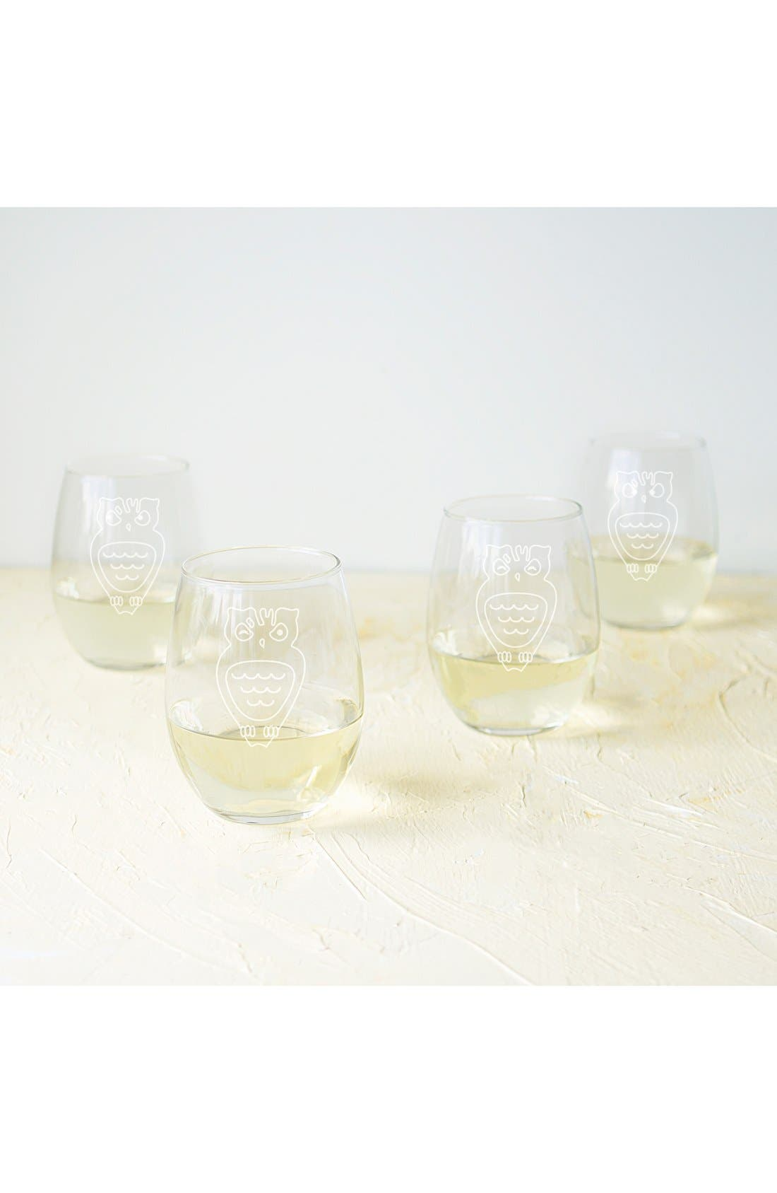 Owl Set of 4 Stemless Wine Glasses,                         Main,                         color, Clear