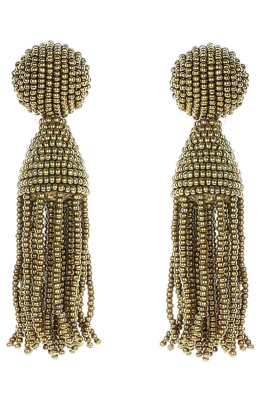 'Classic Short' Tassel Drop Earrings,                         Main,                         color, Fawn