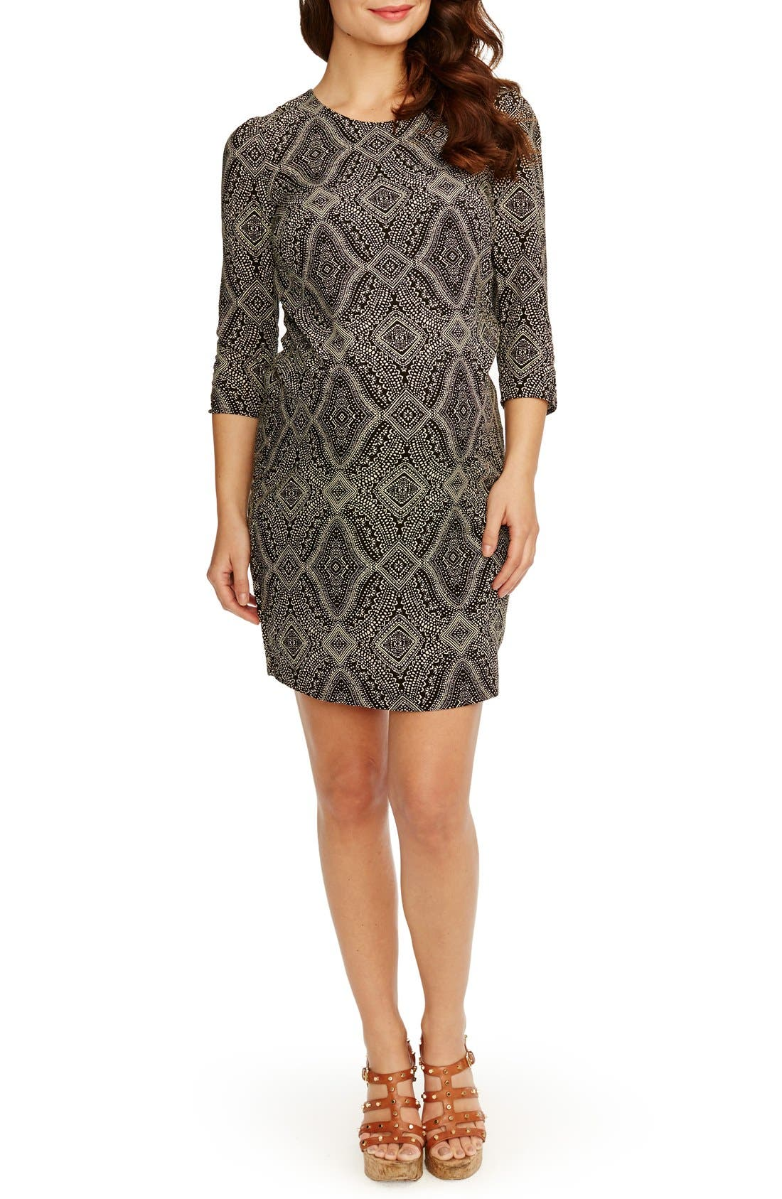 'Sloane' Maternity Dress,                         Main,                         color, Black W/ Sand