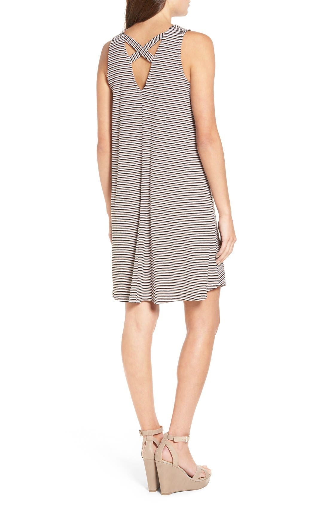 Alternate Image 2  - dee elle Stripe Rib Knit Swing Dress