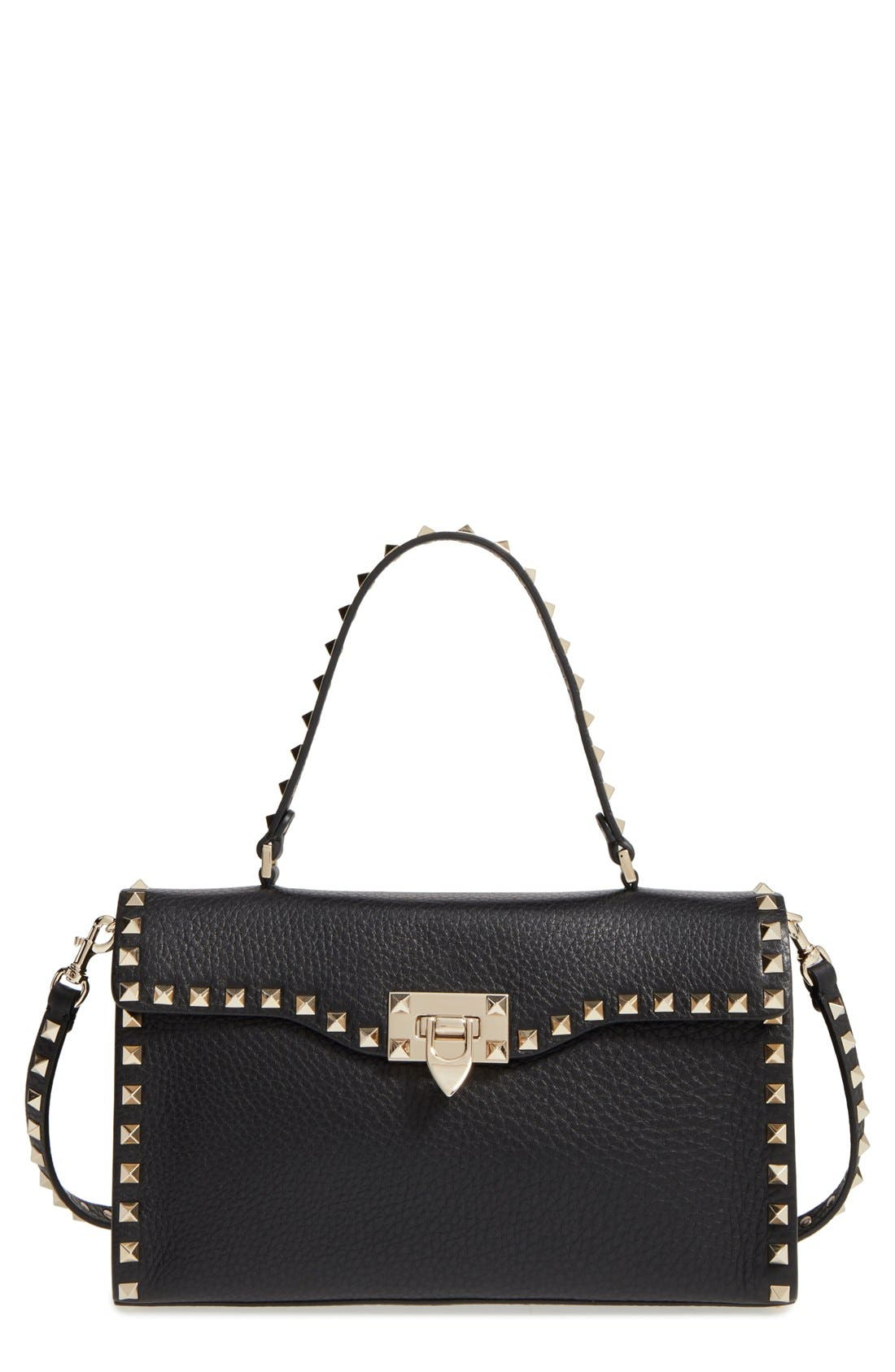 Valentino 'Rockstud' Calfskin Leather Single Handle Shoulder Bag