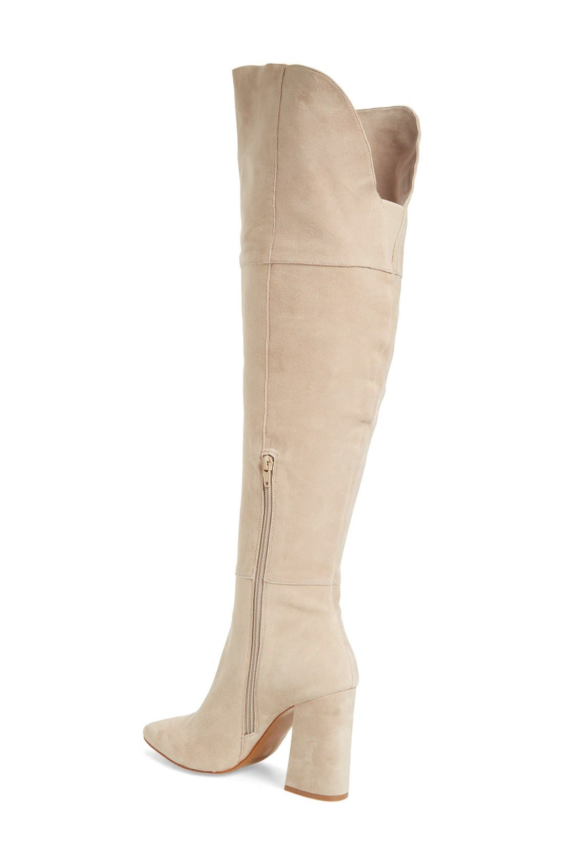 'Saffron' Over the Knee Boot,                             Alternate thumbnail 2, color,                             Grey Suede