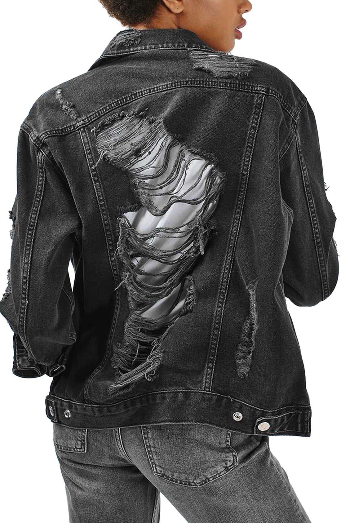 Alternate Image 3  - Topshop Moto Ripped Oversize Denim Jacket