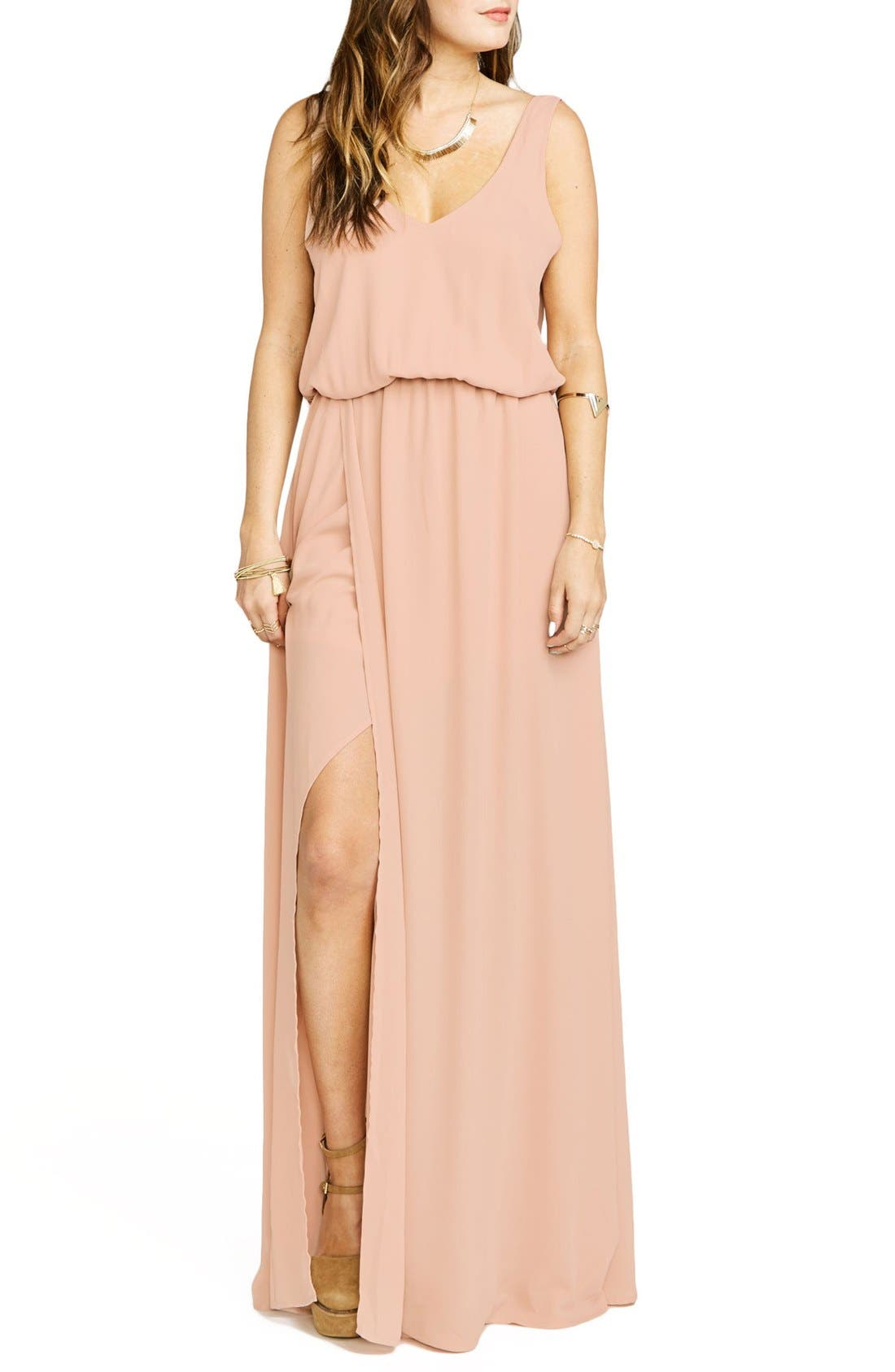 SHOW ME YOUR MUMU Kendall Soft V-Back A-Line Gown in Dusty Blush Crisp