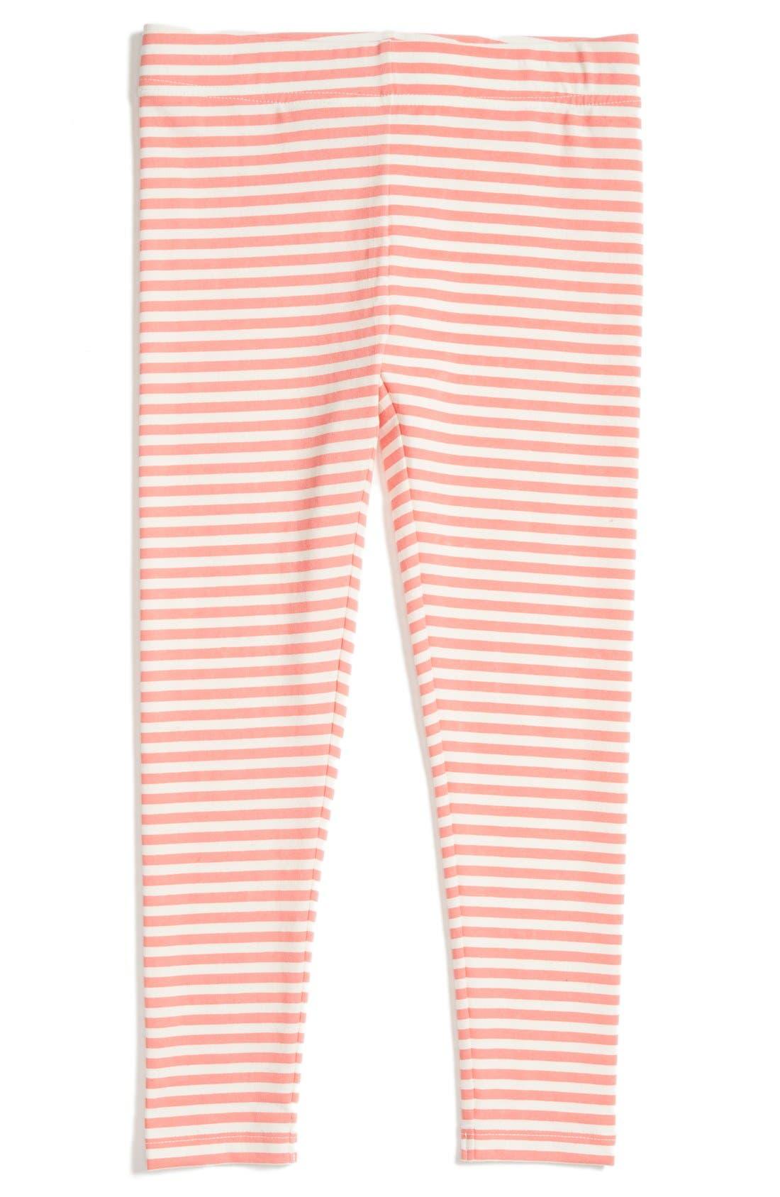 'Core' Striped Leggings,                         Main,                         color, Coral Peach- Ivory Stripe