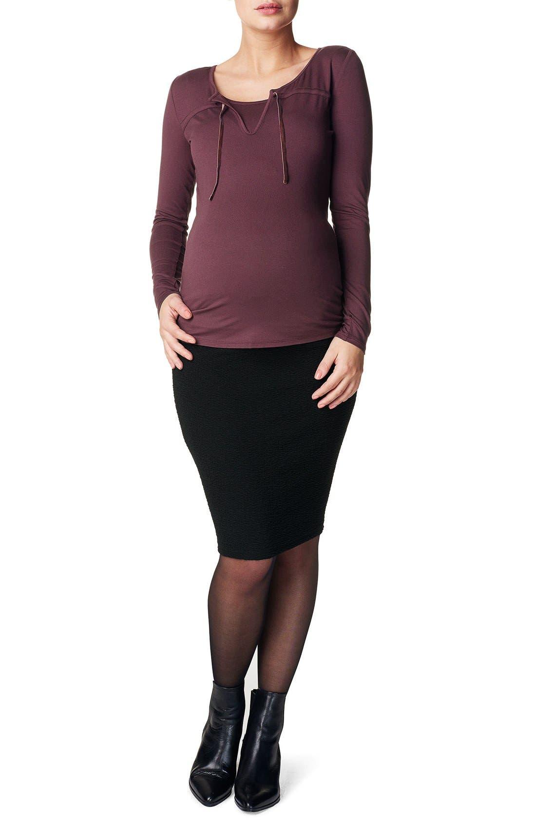 'Eli' Over the Belly Maternity Skirt,                         Main,                         color, Black