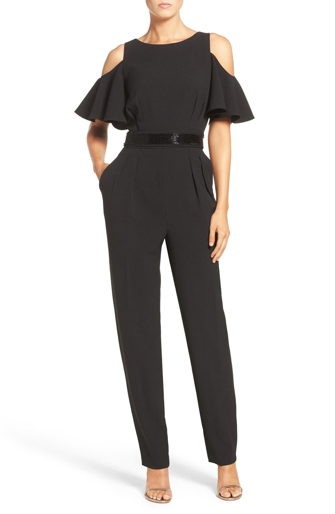Alternate Image 1 Selected - Eliza J Cold Shoulder Jumpsuit (Regular & Petite)