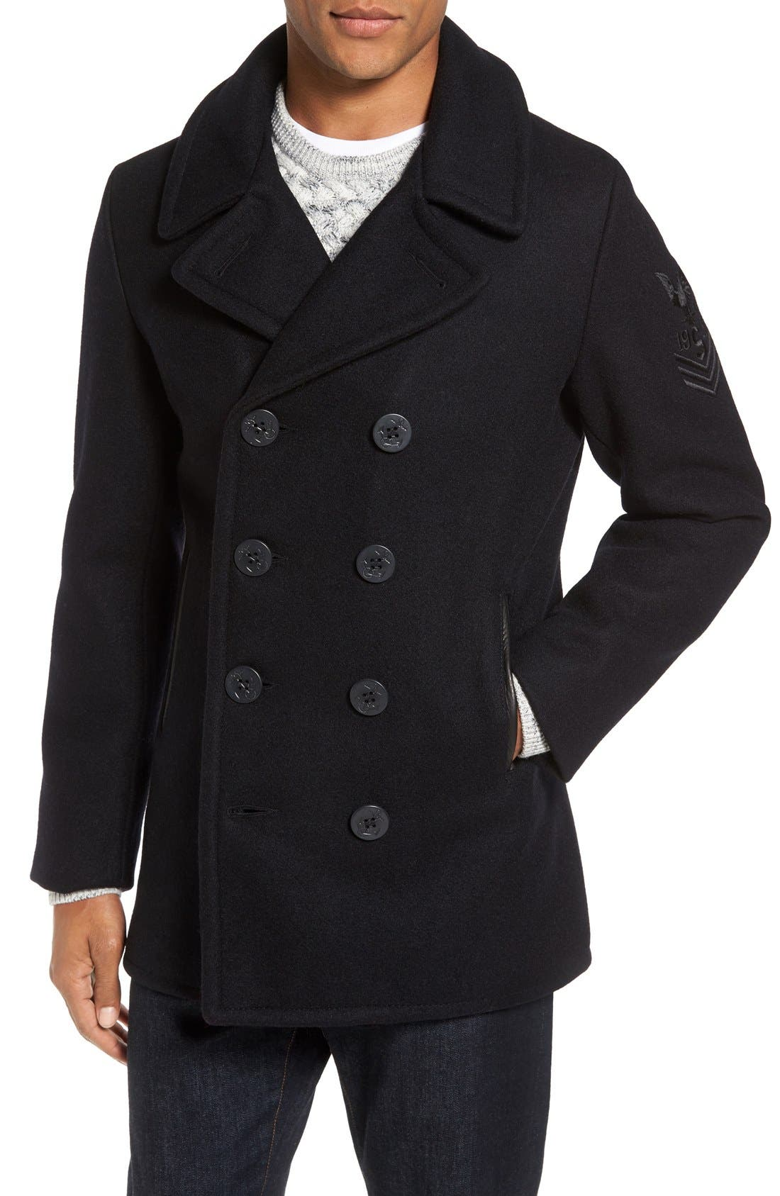 Embroidered Wool Blend Peacoat,                         Main,                         color, Navy