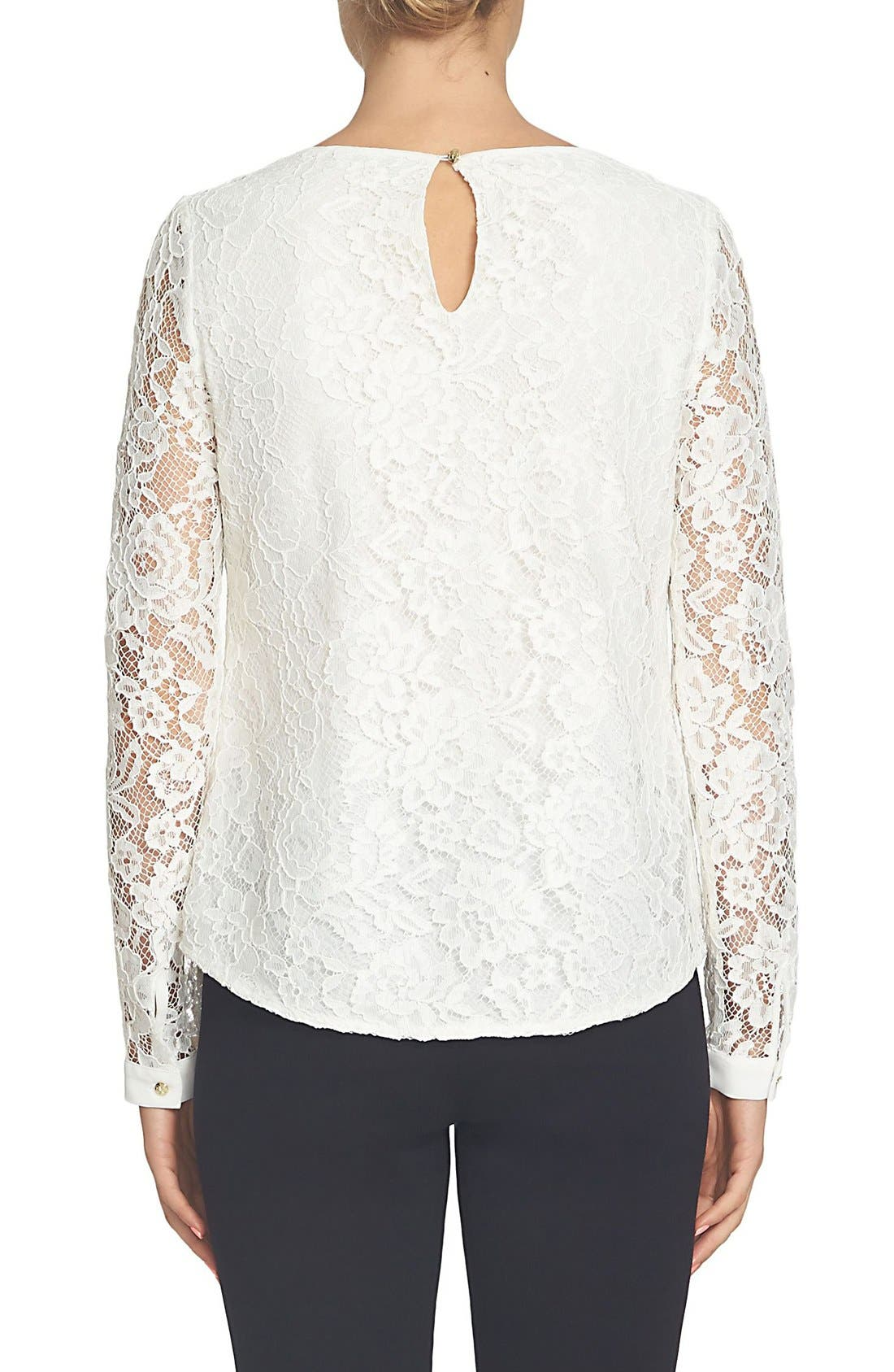 Scallop Lace & Crepe Blouse,                             Alternate thumbnail 3, color,                             New Ivory