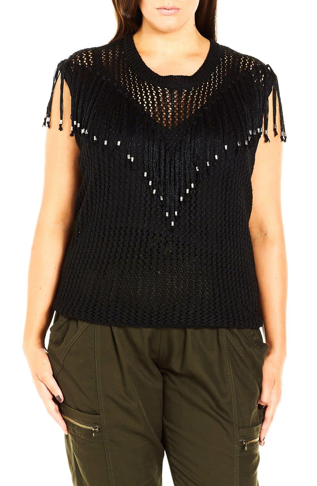 City Chic 'Fringe Fever' Sleeveless Sweater (Plus Size)