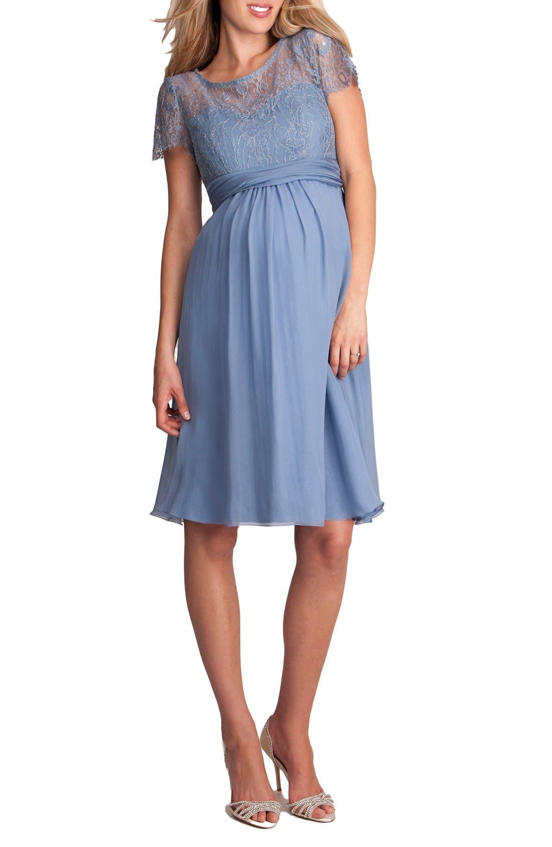 'Genevieve Luxe' Sleeveless Lace & Silk Maternity Dress,                         Main,                         color, Paleblue