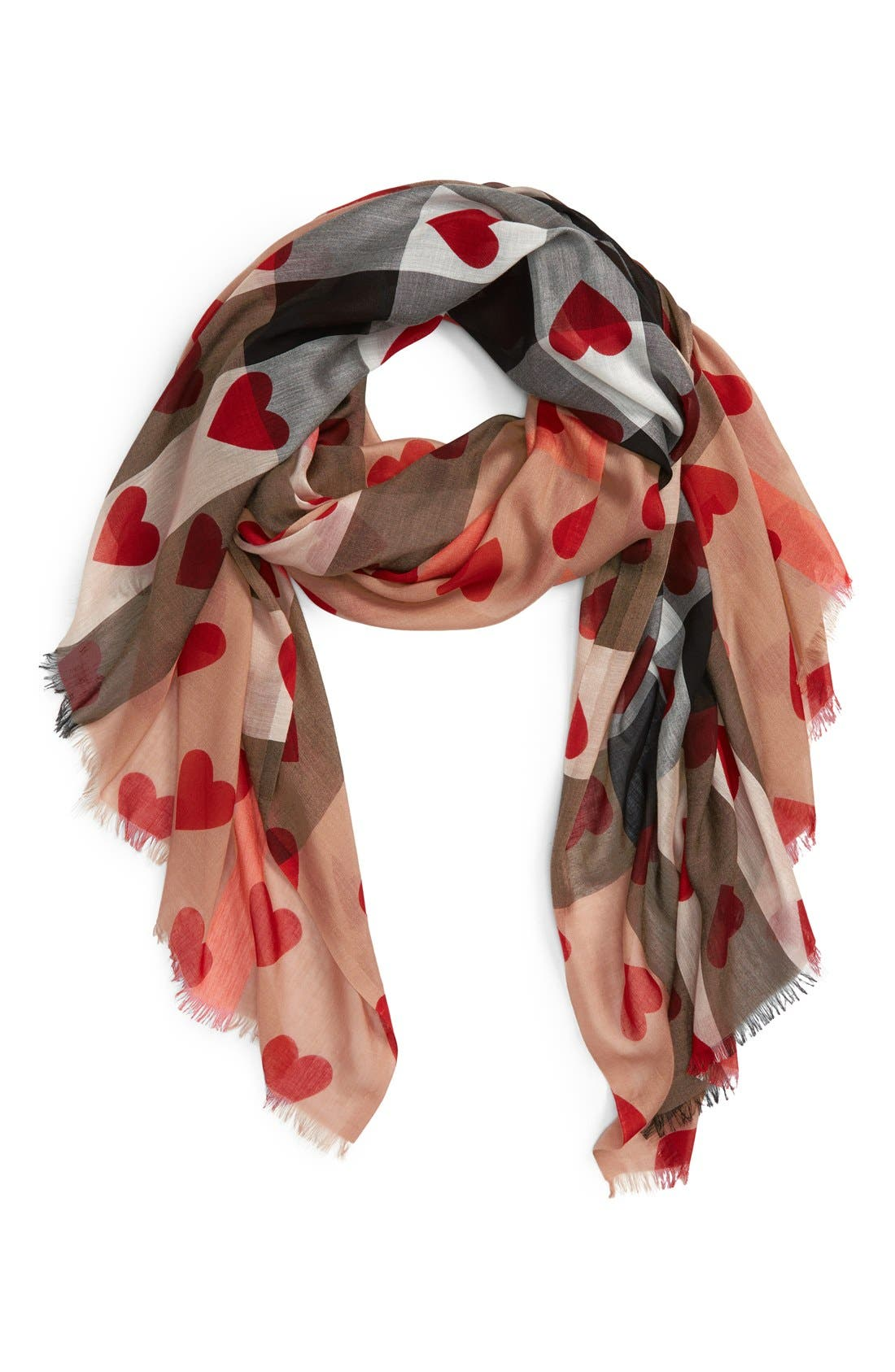 Alternate Image 1 Selected - Burberry Check & Heart Pattern Scarf