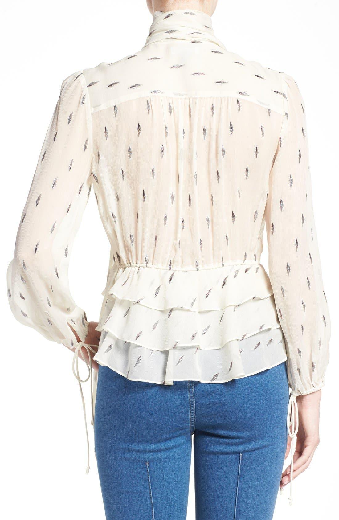 Alternate Image 3  - Olivia Palermo + Chelsea28 Tie Neck Peplum Silk Top