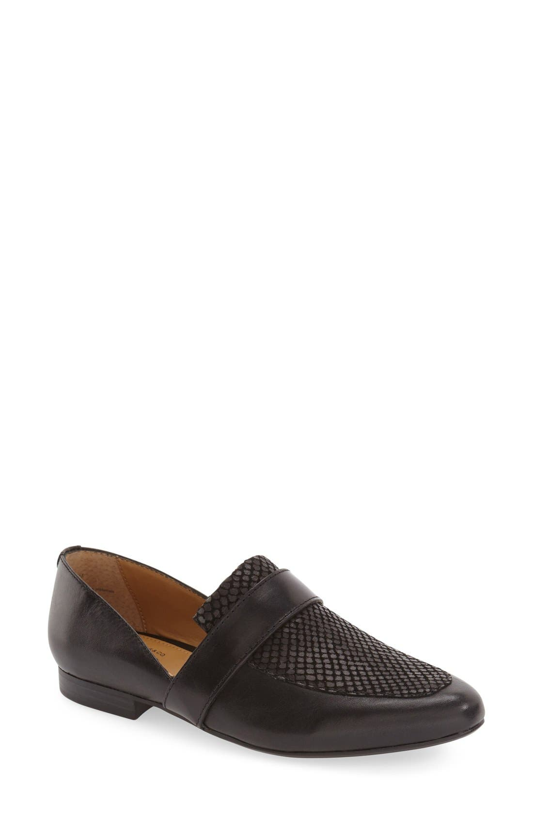 'Hilary' Leather Loafer,                             Main thumbnail 1, color,                             Black Leather