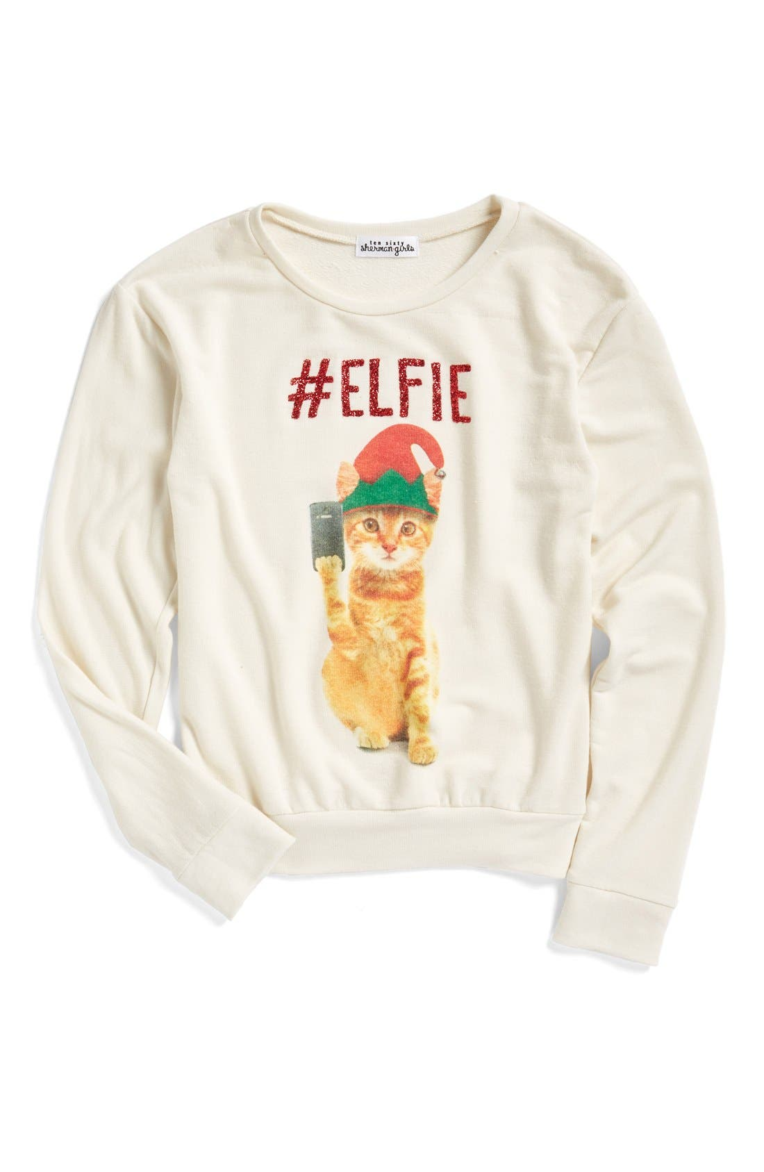 Alternate Image 1 Selected - Ten Sixty Sherman #Elfie Graphic Sweatshirt (Little Girls)