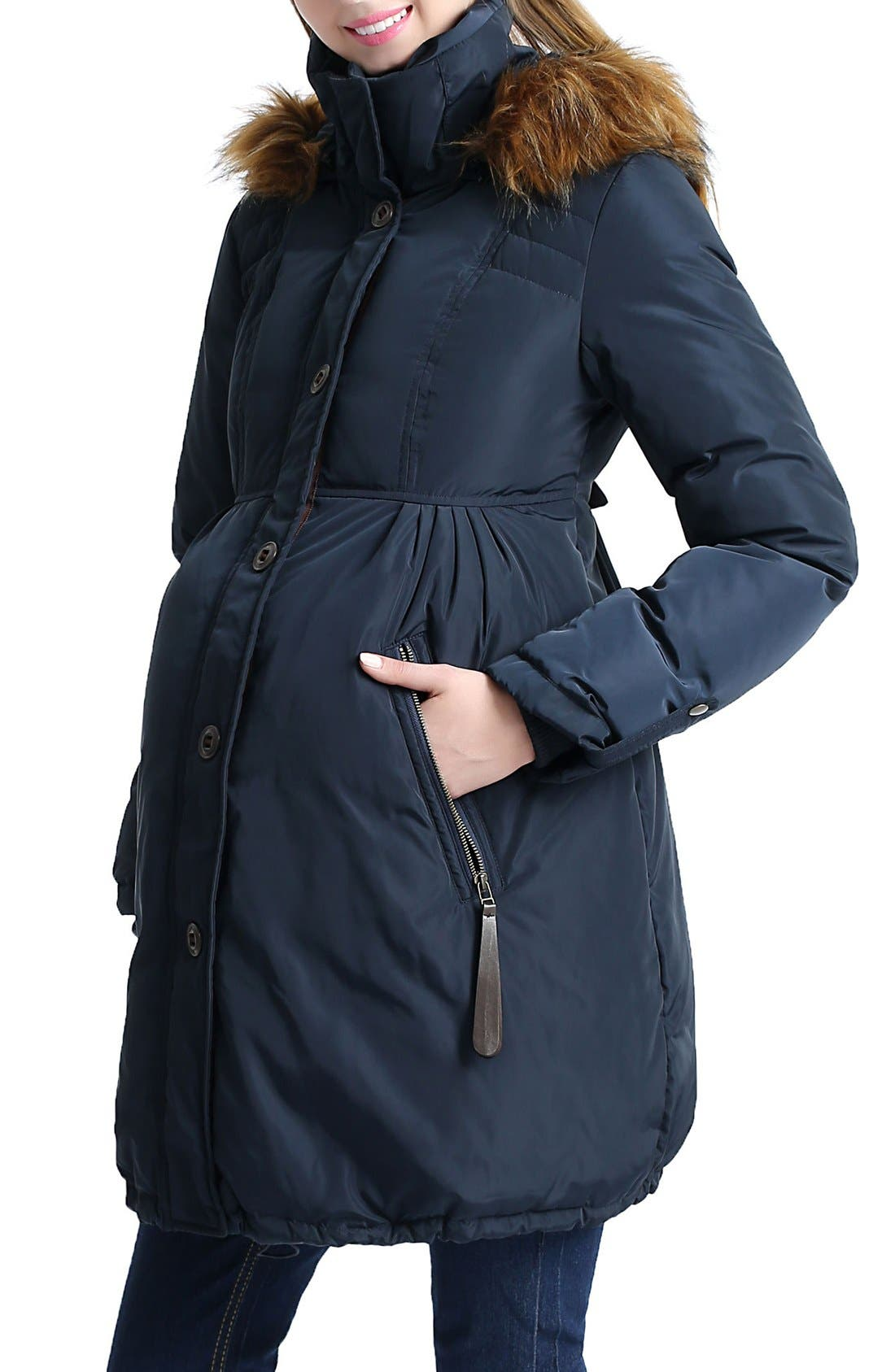 Lizzy Water Resistant Down Maternity Parka,                             Alternate thumbnail 3, color,                             Navy