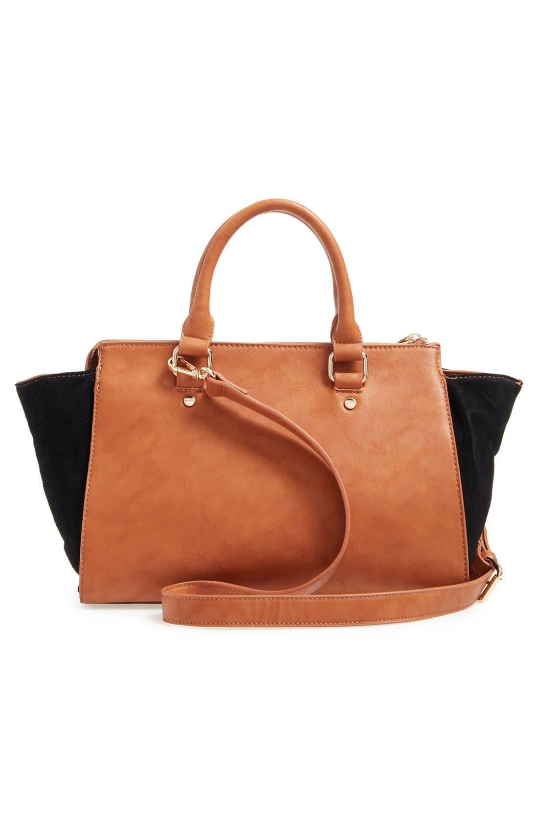 Alternate Image 3  - Sole Society 'Bridgette' Winged Faux Leather & Faux Suede Satchel