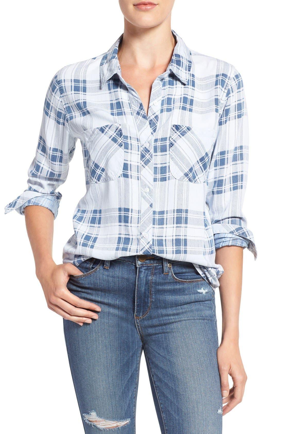 Carter Plaid Shirt,                             Main thumbnail 1, color,                             Pigment Plaid