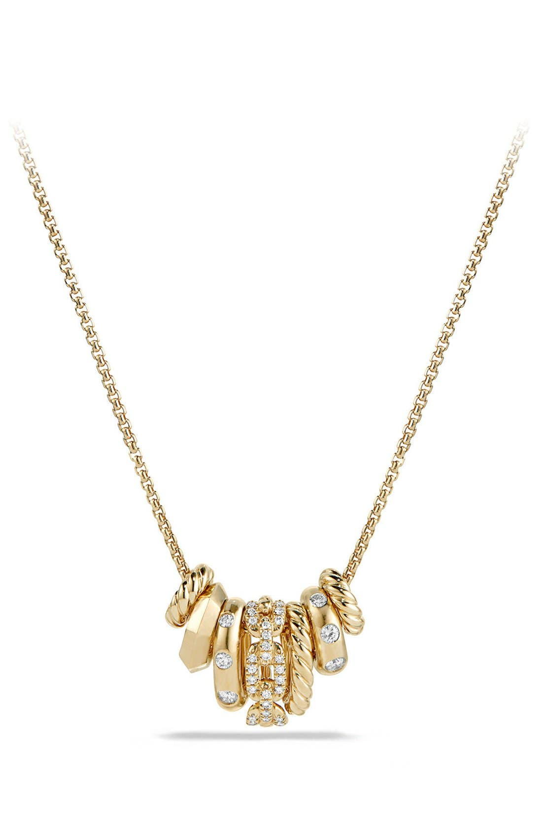 David Yurman 'Stax' Pendant Necklace with Diamonds in 18K Gold