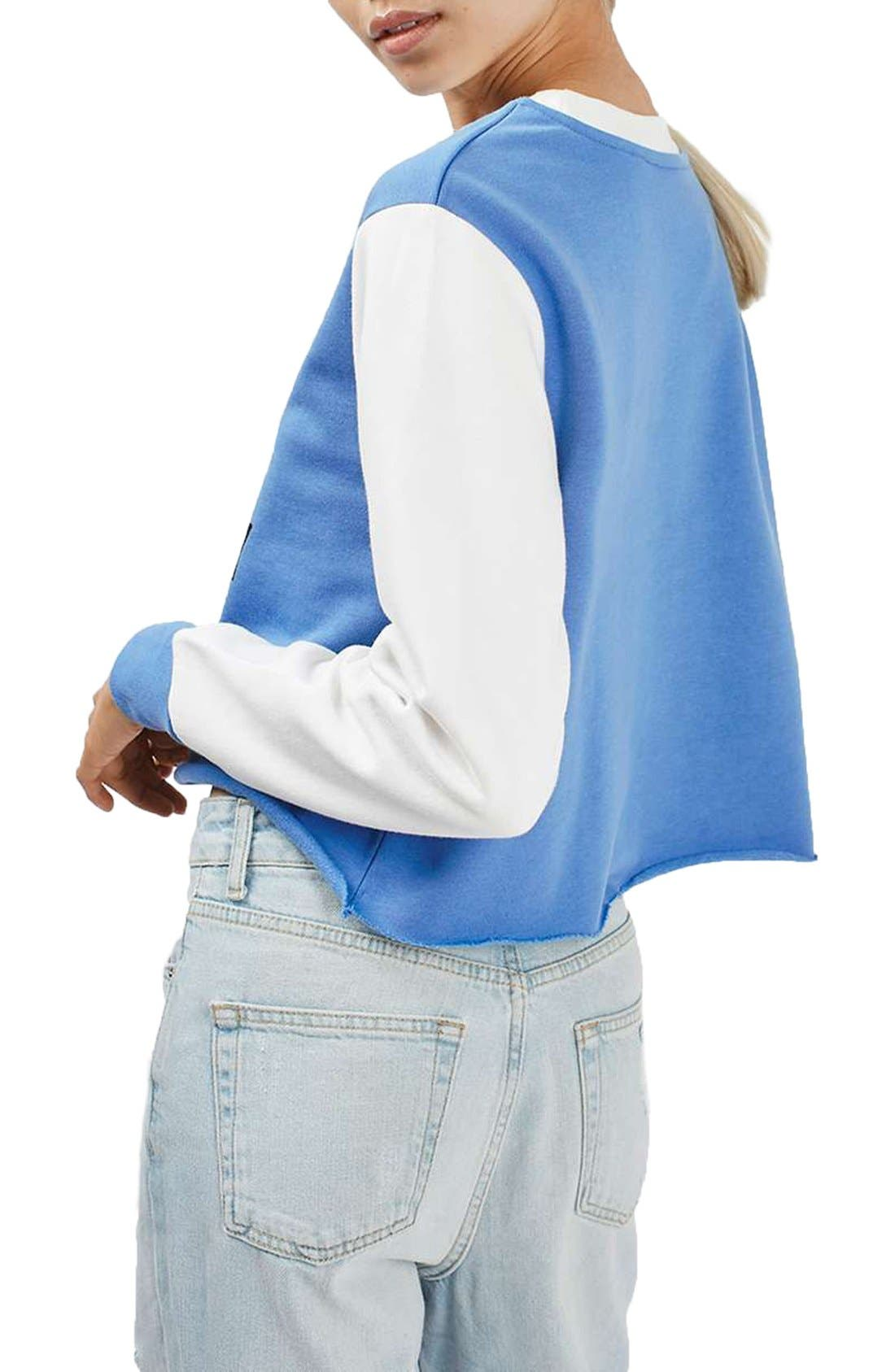 by Tee & Cake 'Hangry' Graphic Crop Colorblock Sweatshirt,                             Alternate thumbnail 3, color,                             Blue