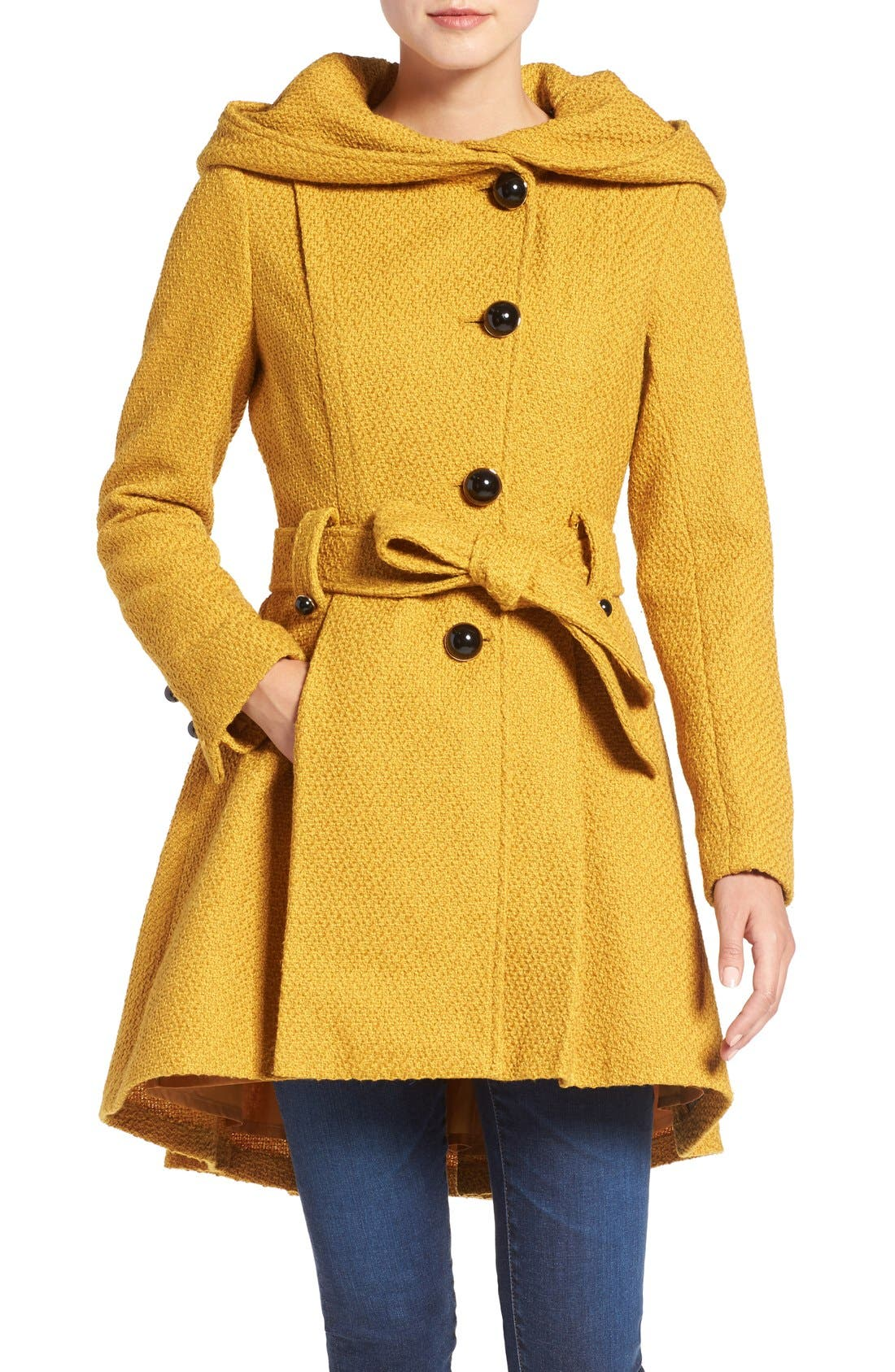 Belted Hooded Skirted Coat,                             Main thumbnail 1, color,                             Mustard