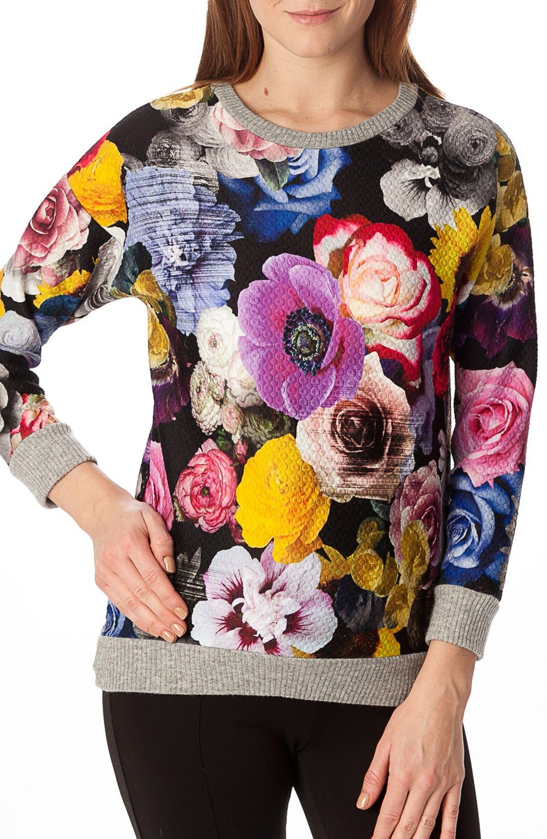 'Ocean' Floral Print Quilted Maternity Sweatshirt,                             Main thumbnail 1, color,                             Collage Of Flowers