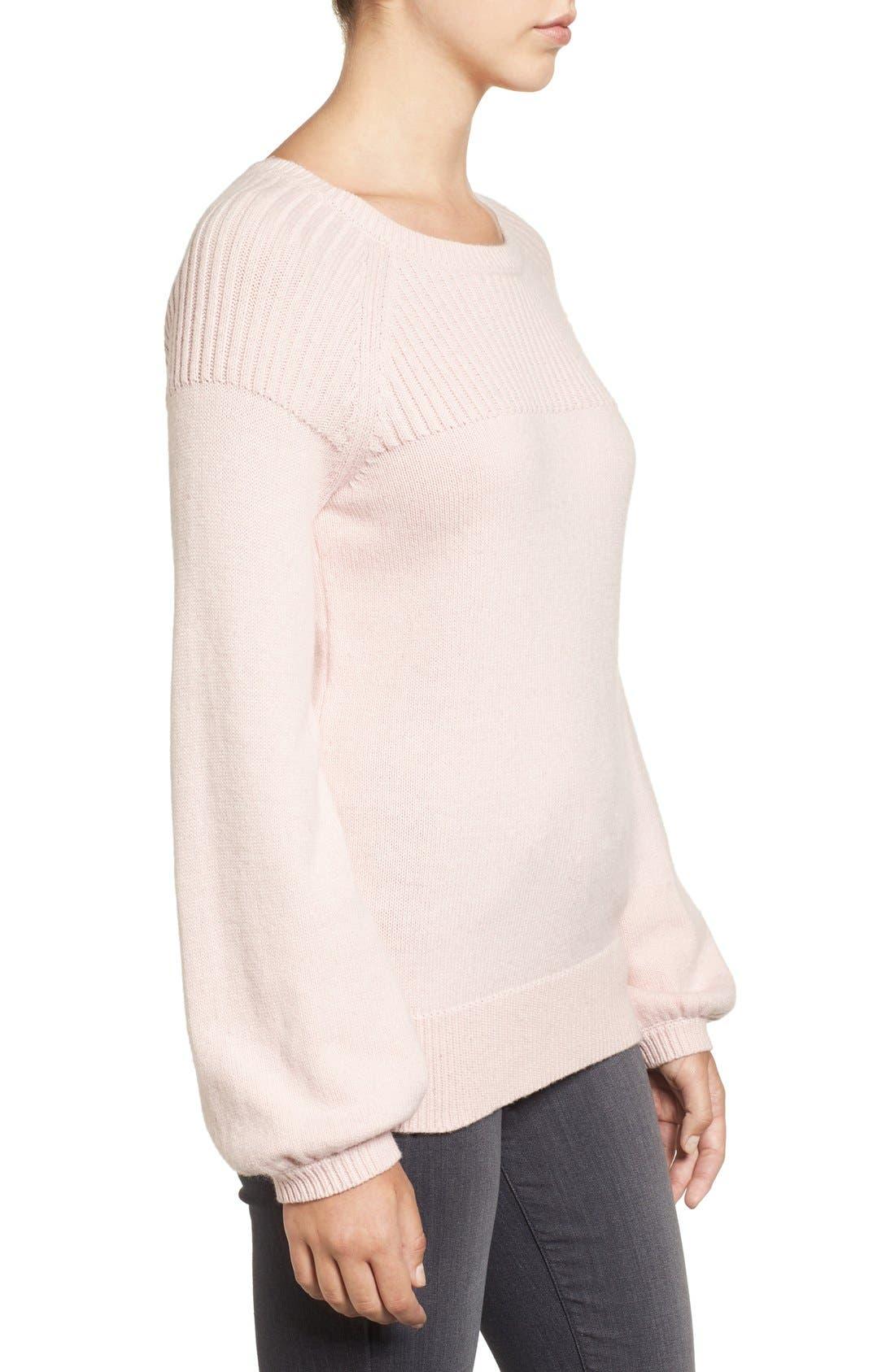 Alternate Image 4  - Halogen® Ribbed Yoke Pullover (Regular & Petite)