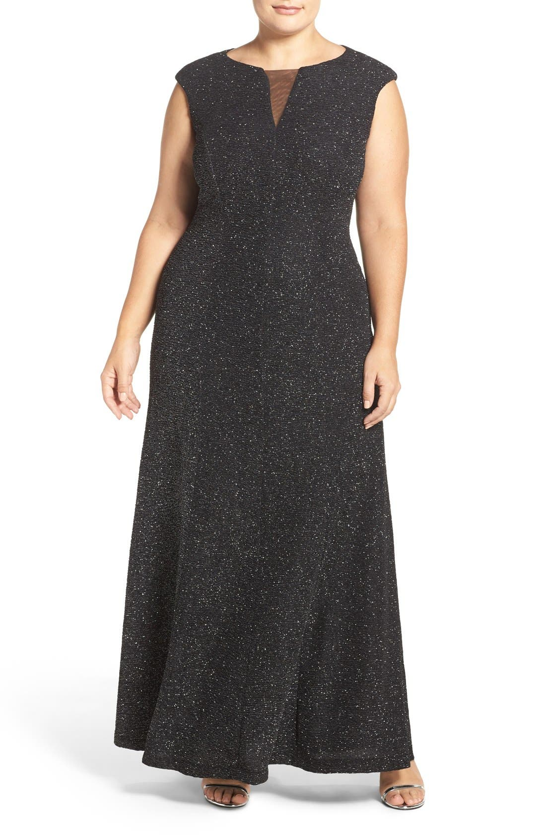 Cap Sleeve Mesh Inset Glitter Knit Gown,                             Main thumbnail 1, color,                             Black/ Silver