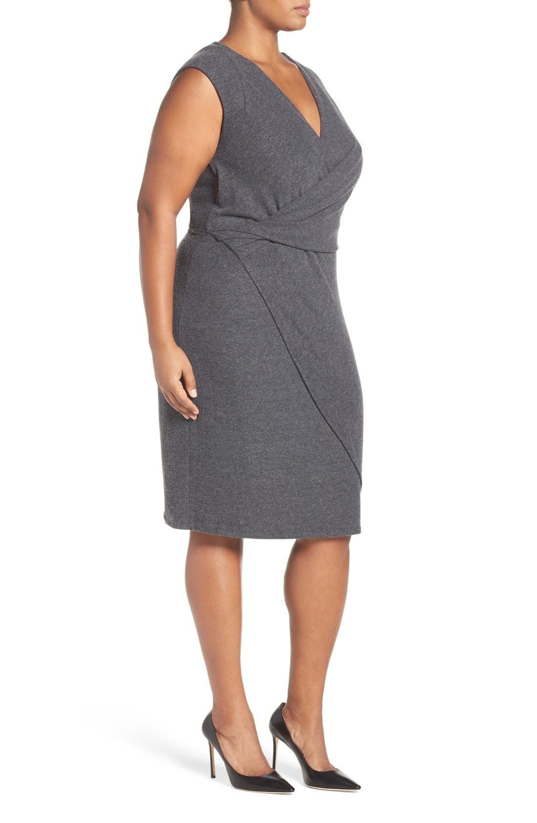 'Analyse' Faux Wrap Sheath Dress,                             Alternate thumbnail 3, color,                             Charcoal