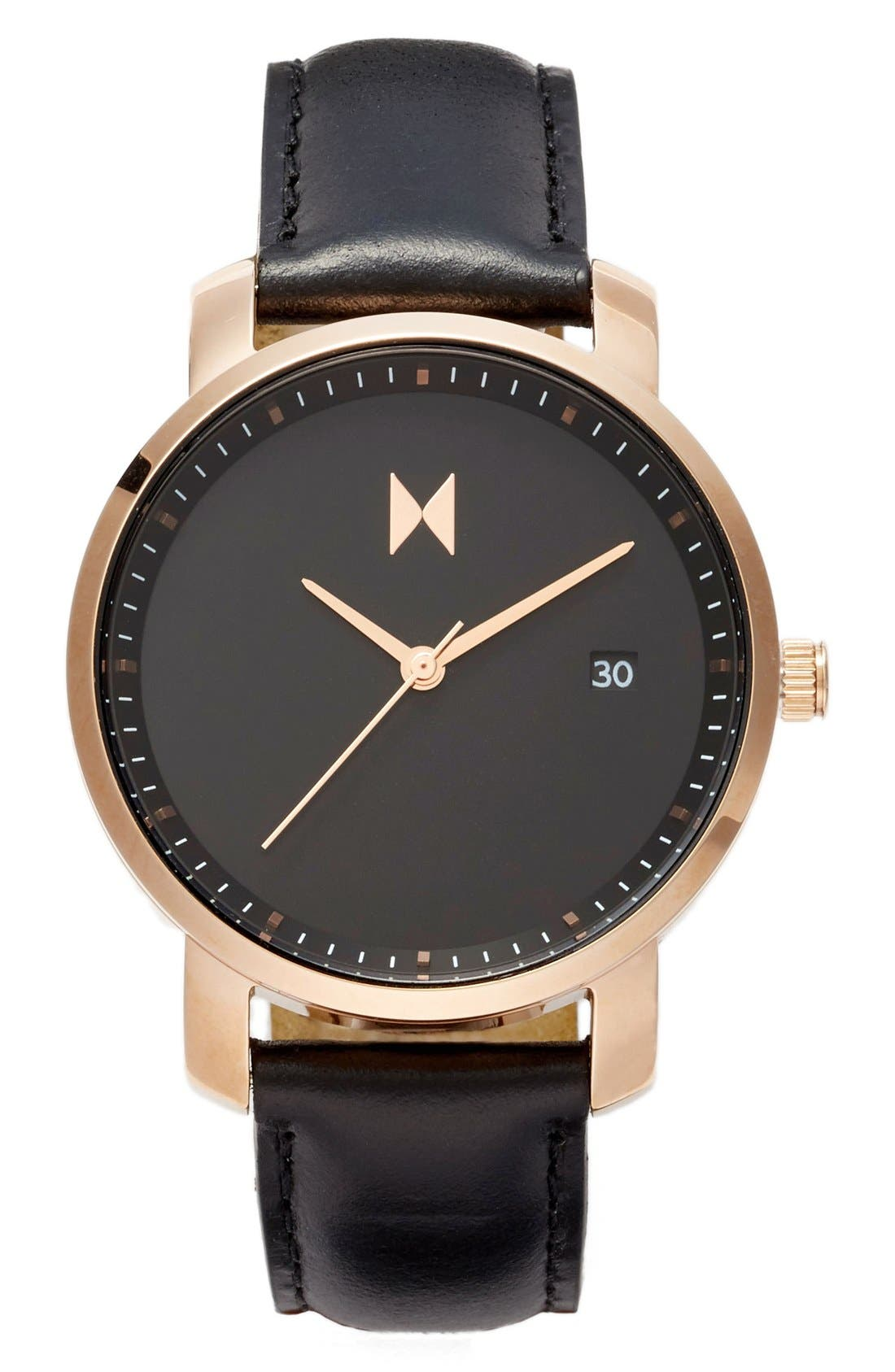 Leather Strap Watch, 38mm,                             Main thumbnail 1, color,                             Black/ Rose Gold