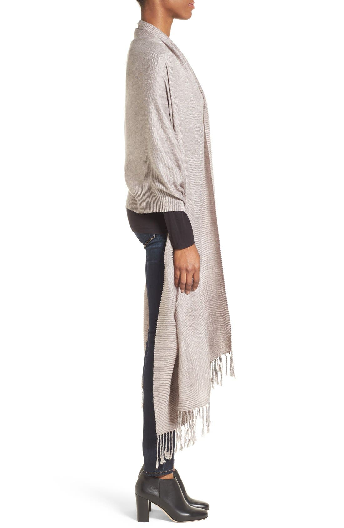 Fringe Textured Wrap,                             Alternate thumbnail 3, color,                             Grey Gull