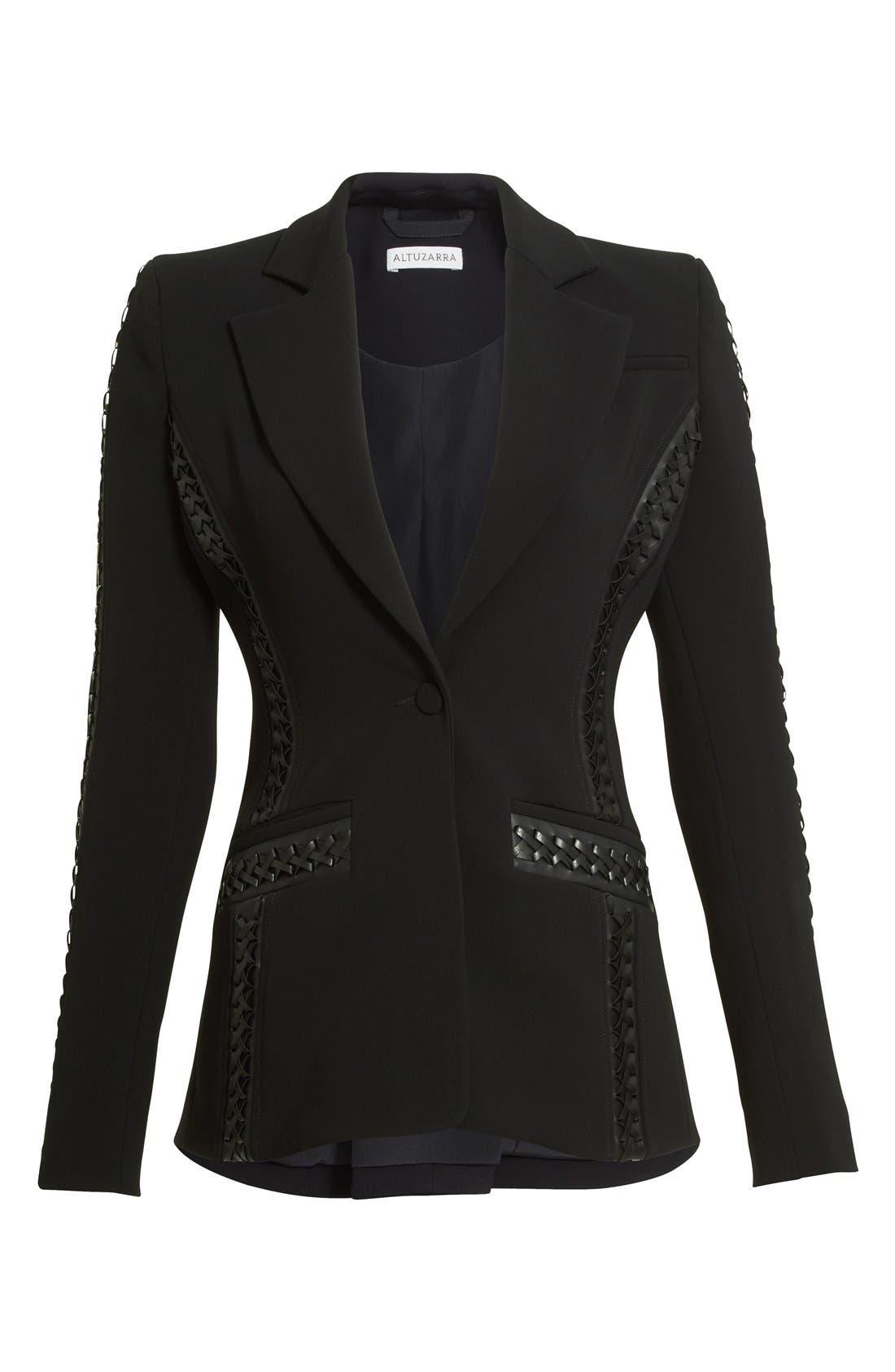 Acacia Lace Detail Jacket,                             Alternate thumbnail 4, color,                             Black