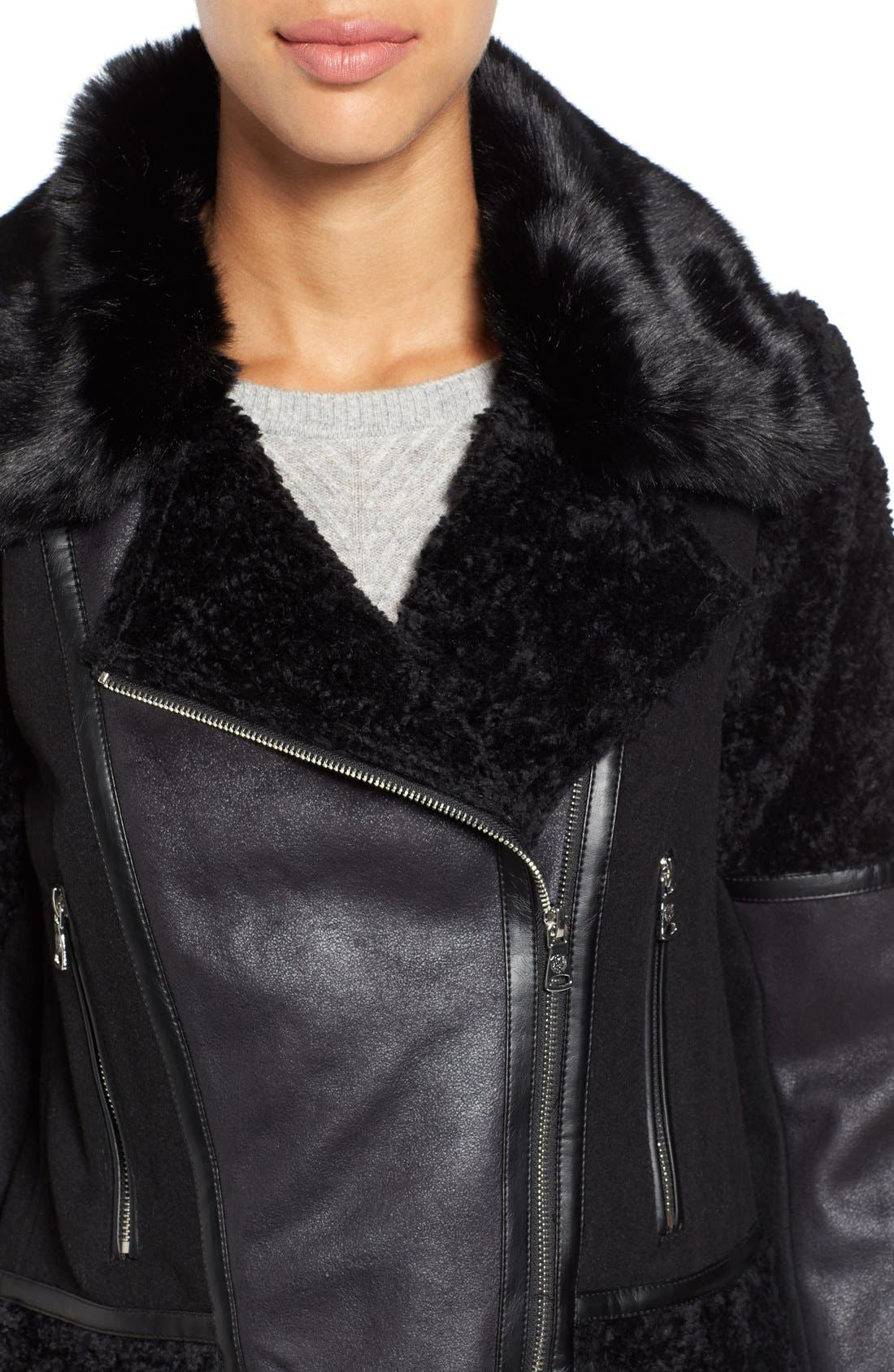Alternate Image 4  - Vince Camuto Mixed Media Faux Shearling Moto Jacket