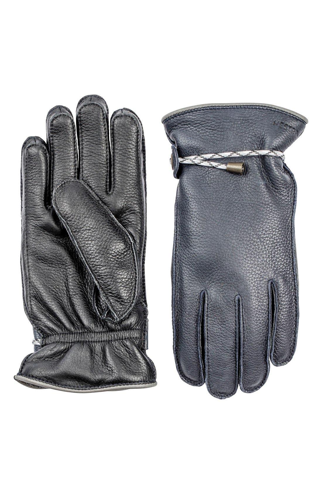 'Granvik' Leather Gloves,                         Main,                         color, Midnight/ Black